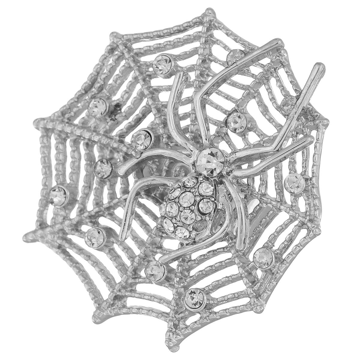 Кольцо Avgad, цвет: серебристый. EA178JW179EA178JW179Оригинальное кольцо Avgad выполнено из ювелирного сплава. Изделие украшено декоративным элементом в виде паутины с пауком, оформленным стразами. Размер кольца универсальный, его можно регулировать. Кольцо позволит вам с легкостью воплотить самую смелую фантазию и создать собственный, неповторимый образ.