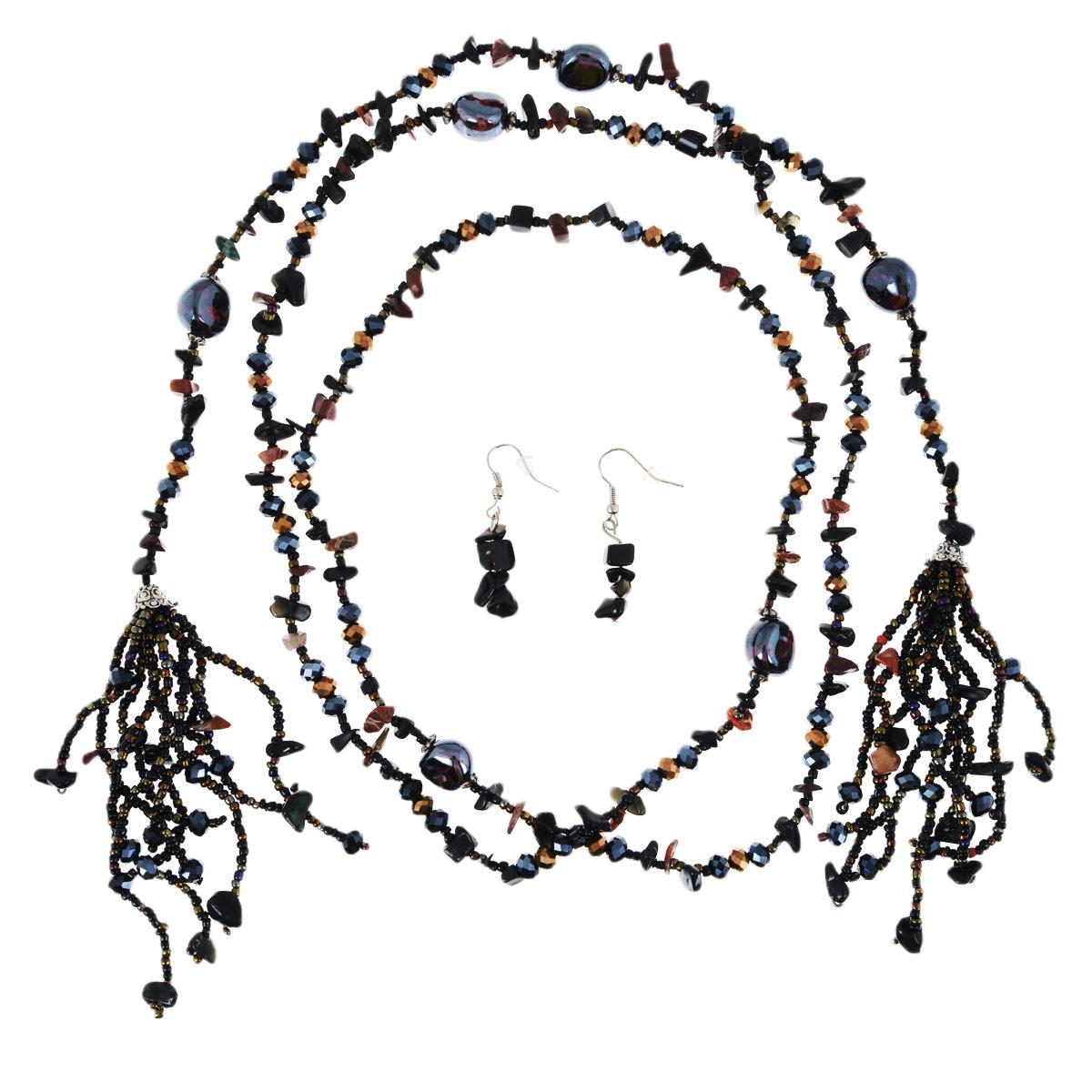 Колье Avgad, цвет: коричневый, темно-серый. H-477S841H-477S841Оригинальный комплект украшений Avgad включает в себя колье и серьги, изготовленные из чешского хрусталя и ювелирного сплава. Колье не имеет застежки, что позволяет оставить его длинным или укоротить, обмотав шею несколько раз. Серьги застегиваются с помощью замка-петли. Такой комплект позволит вам с легкостью воплотить самую смелую фантазию и создать собственный, неповторимый образ.