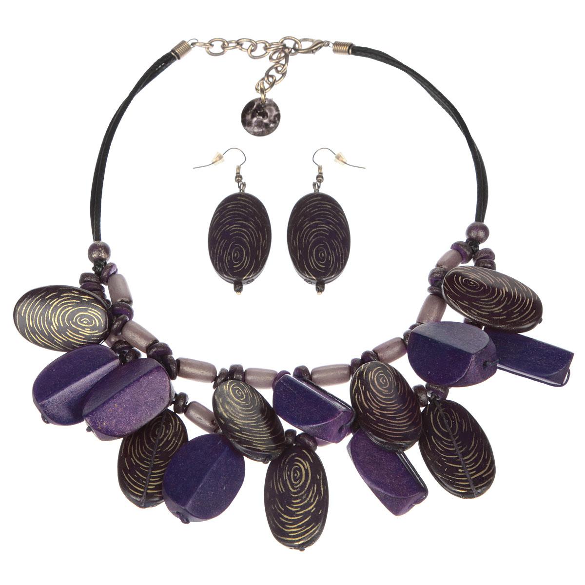 Комплект бижутерии (колье, серьги) Avgad, цвет: фиолетовый. H-477S817