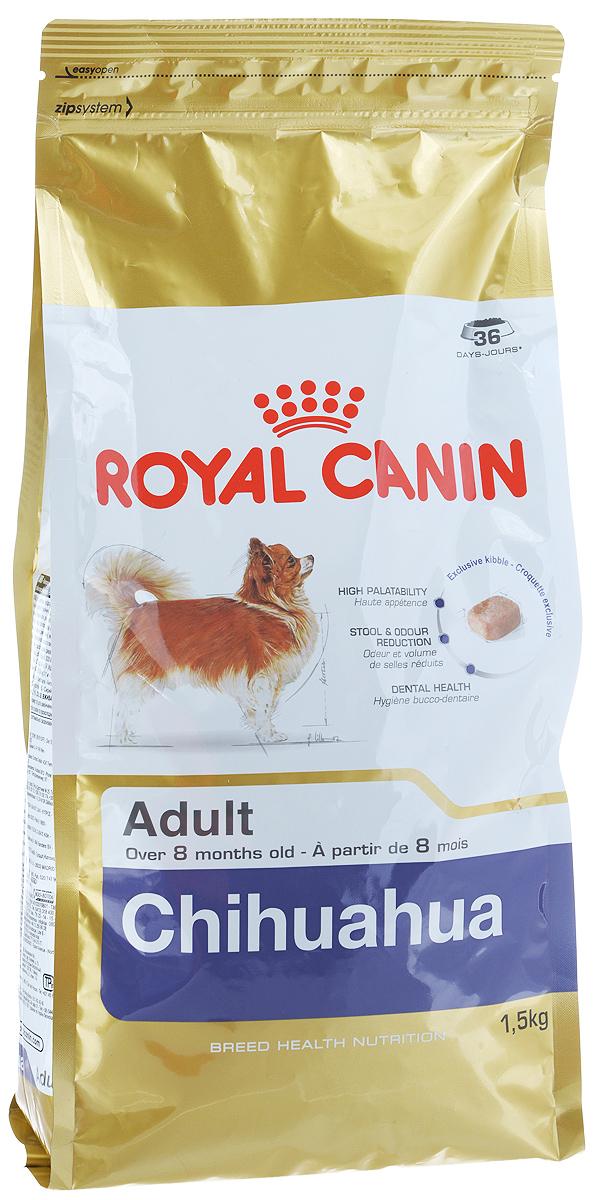 Корм сухой Royal Canin Chihuahua Adult, для собак породы чихуахуа в возрасте с 8 месяцев, 1,5 кг318015Корм сухой Royal Canin Chihuahua Adult - полнорационное питание для собак породы чихуахуа в возрасте с 8 месяцев и на протяжении всей жизни. Высокая вкусовая привлекательность. Стимулирует аппетит даже у самых разборчивых чихуахуа благодаря отборным натуральным ароматизаторам и специально адаптированным размерам и форме крокетов. Нормализация стула. Корм для чихуахуа снижает объем и ослабляет неприятный запах экскрементов животного. Уменьшение риска возникновения зубного камня. Благодаря хелаторам кальция и специально подобранной текстуре крокетов, которая оказывает чистящее воздействие, данный продукт помогает ограничить образование зубного камня у чихуахуа. В магазинах партнеров Royal Canin вы сможете купитькорм, обогащенный всеми необходимыми элементами. Специально для миниатюрных челюстей. Крокеты идеально подходят для крошечных челюстей чихуахуа. Форма крокет - крайне важный фактор нормального развития челюстей собак миниатюрных и...