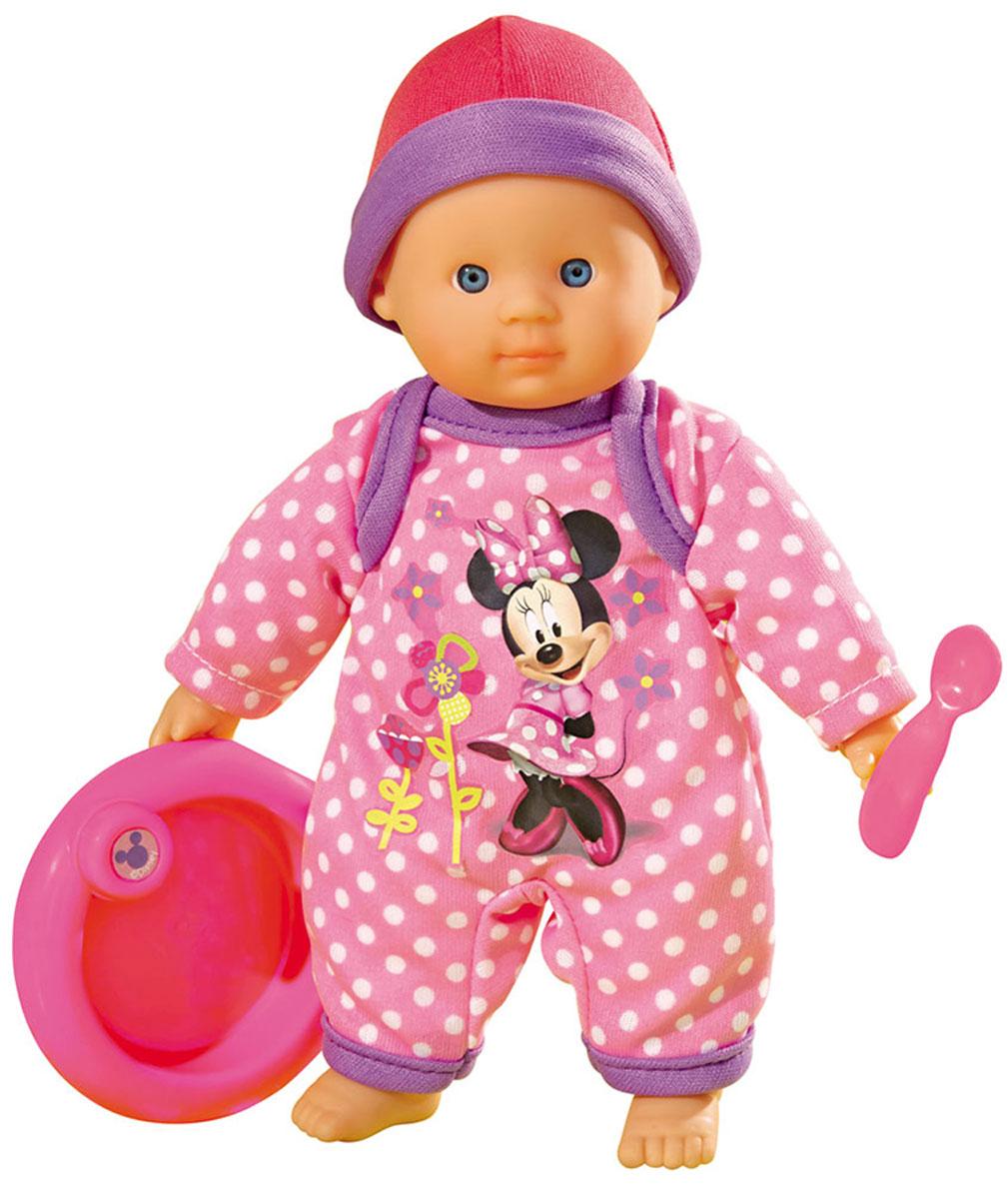 Simba Игровой набор с куклой Minnie Mouse Cute Baby5018123Пупс Minnie Mouse: Cute Baby обязательно понравится вашей малышке! Очаровательная кукла с мягконабивным тельцем одета в розовую пижаму, оформленную изображением Минни Маус, на голове - шапочка в тон ей. В комплект с пупсом входят бутылочка для кормления, ложка и миска, выполненные из пластика, а также темно-розовый комбинезон с капюшоном. Игра с пупсом разовьет в вашей малышке фантазию и любознательность, поможет овладеть навыками общения и научит ролевым играм, воспитает чувство ответственности и заботы. Порадуйте свою малышку таким великолепным подарком! Характеристики: Материал: пластик, текстиль. Высота пупса: 20 см. Размер упаковки (ДхШхВ): 22 см x 22 см x 6,5 см. Изготовитель: Китай.