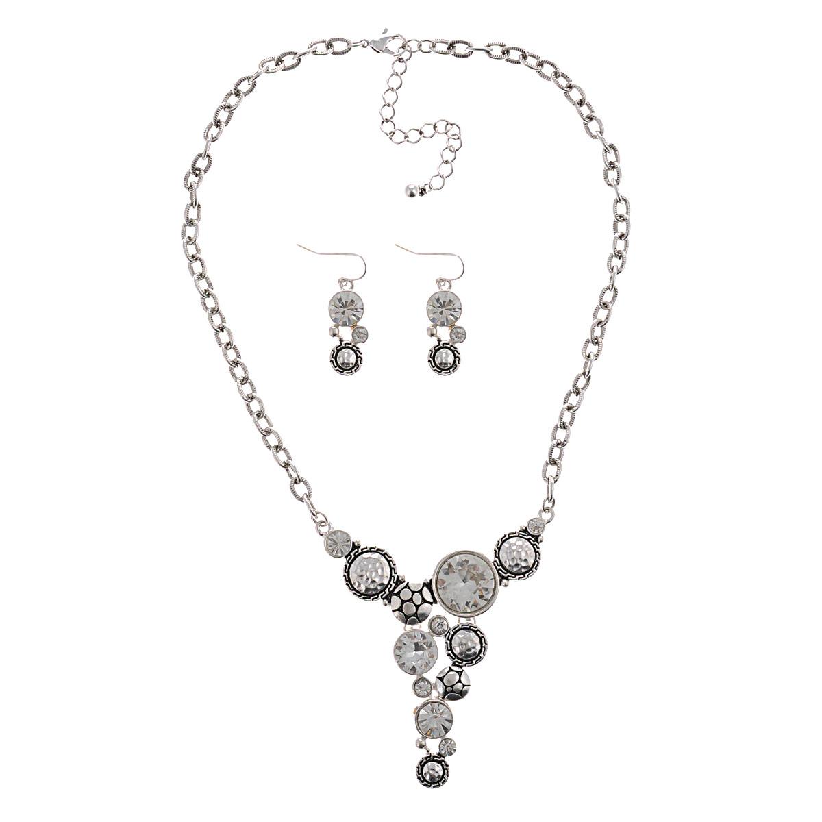 Комплект украшений Avgad: колье, серьги, цвет: серебристый. H-477S862