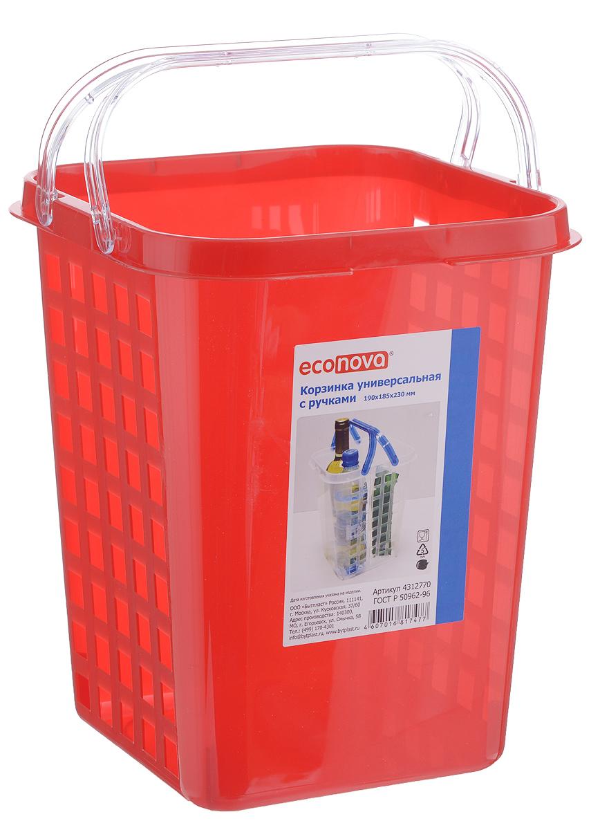 Корзинка универсальная Econova, с ручками, цвет: красный, 19 х 18,5 х 23 смС12770_красныйУниверсальная корзинка Econova изготовлена из высококачественного пищевого пластика и предназначена для хранения и транспортировки различных вещей. Корзинка подойдет как для пищевых продуктов, так и для ванных принадлежностей и различных мелочей. Изделие оснащено двумя ручками для более удобной транспортировки. Стенки корзинки оформлены перфорацией, что обеспечивает естественную вентиляцию. Универсальная корзинка Econova позволит вам хранить вещи компактно и с удобством.