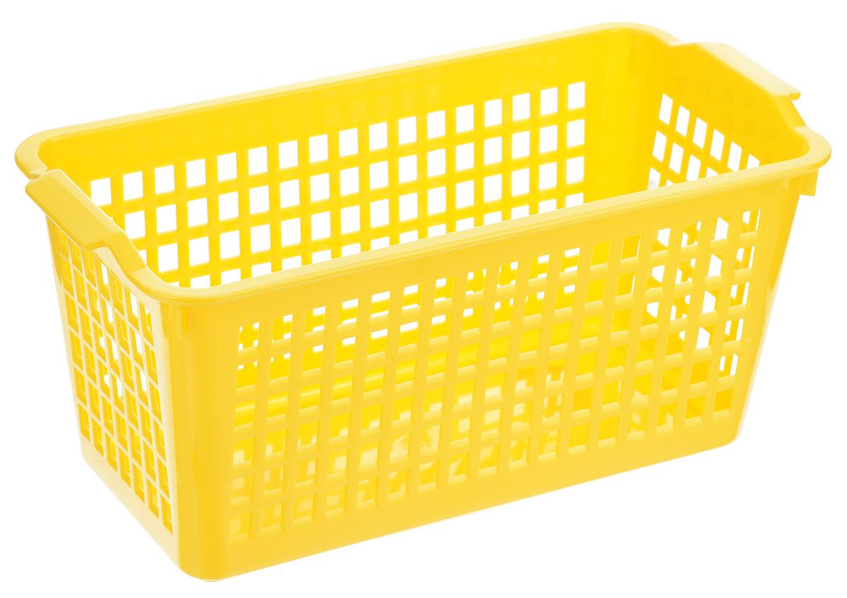 Корзинка универсальная Econova, цвет: желтый, 28 х 13,5 смС12244_желтыйУниверсальная корзинка Econova изготовлена из высококачественного пластика с перфорированными стенками и сплошным дном. Такая корзинка непременно пригодится в быту, в ней можно хранить кухонные принадлежности, специи, аксессуары для ванной и другие бытовые предметы, диски и канцелярию.