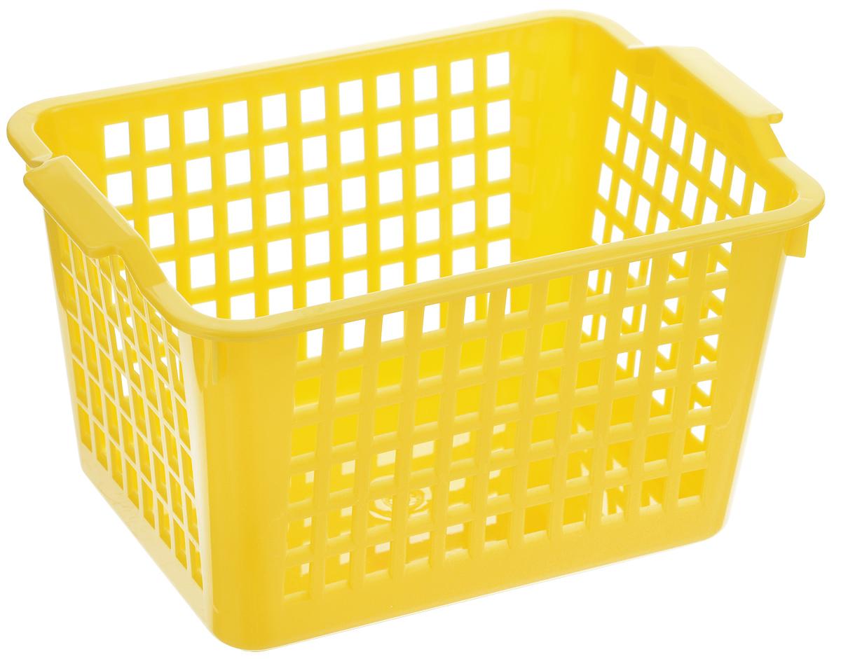 Корзинка универсальная Econova, цвет: желтый, 21 х 14,6 х 11,3 см718340_желтыйУниверсальная корзинка Econova изготовлена из высококачественного пластика с перфорированными стенками и сплошным дном. Такая корзинка непременно пригодится в быту, в ней можно хранить кухонные принадлежности, специи, аксессуары для ванной и другие бытовые предметы, диски и канцелярию.