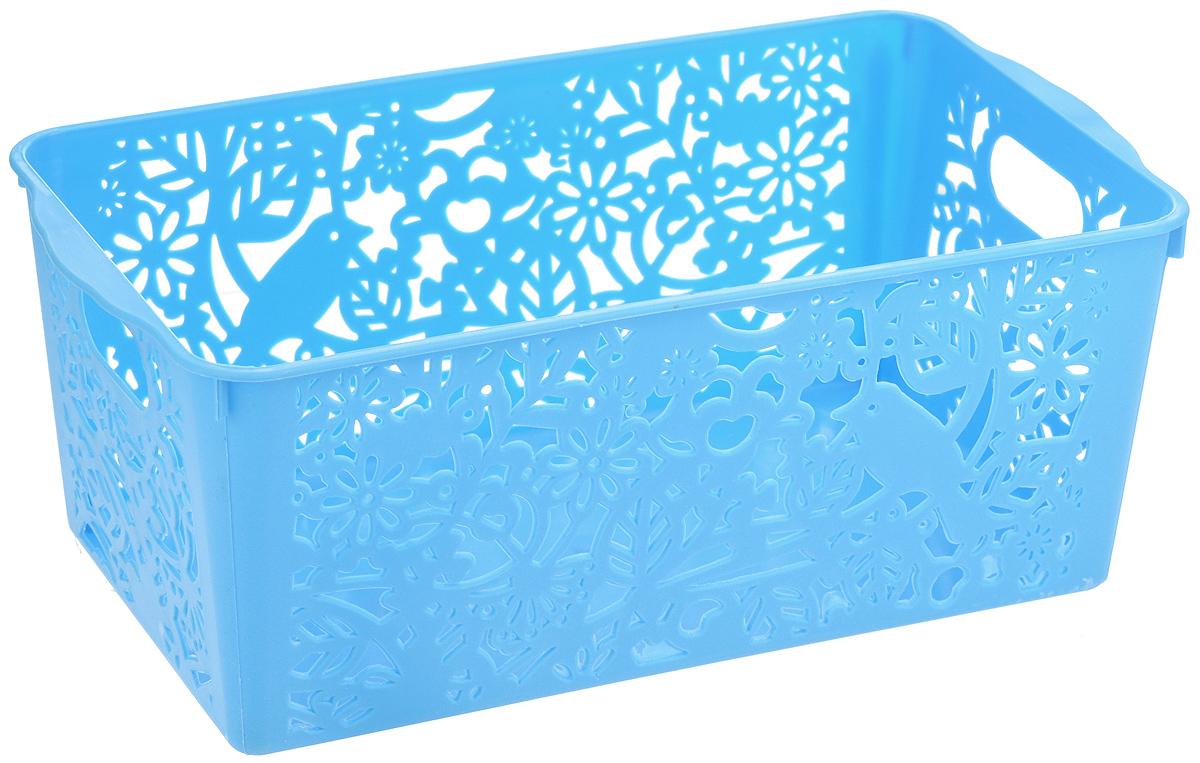 Корзина для хранения Sima-land Птицы, цвет: голубой, 28 х 15 х 11 см799920_голубойПрямоугольная корзина Sima-land Птицы, изготовленная из пластика, предназначена для хранения мелочей в ванной, на кухне, даче или гараже. Позволяет хранить мелкие вещи, исключая возможность их потери. Корзина со сплошным дном и перфорированными стенками, оснащена ручками для удобной переноски. Элегантный выдержанный дизайн позволяет органично вписаться в ваш интерьер и стать его элементом.