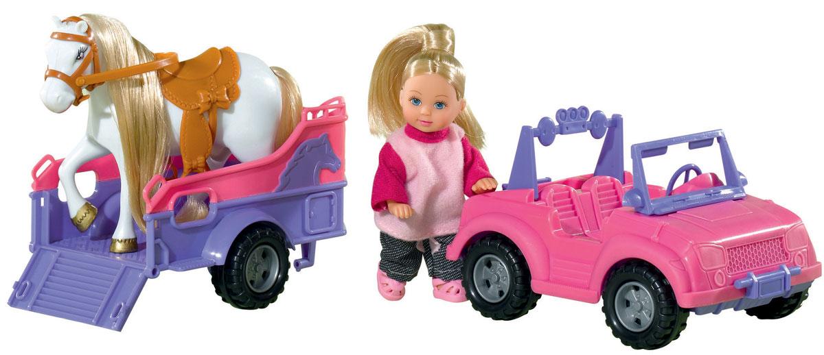 Simba Игровой набор с мини-куклой Evi Love Evi Jeep&Trailer5737460Игровой набор Еви и трейлер с лошадкой не оставит равнодушной ни одну девочку. Очаровательная куколка Еви отправилась в лес со своей лошадкой. Еви едет на розовой машинке, а лошадка поместилась в трейлер. Куколка с длинными светлыми волосами одета в розовую кофточку и штанишки. Одежда и обувь у куколки снимается, ручки, ножки и голова подвижны. Набор включает куклу, машину, трейлер и лошадку. Вашей малышке обязательно понравится этот чудесный игровой набор. Порадуйте ее таким замечательным подарком!