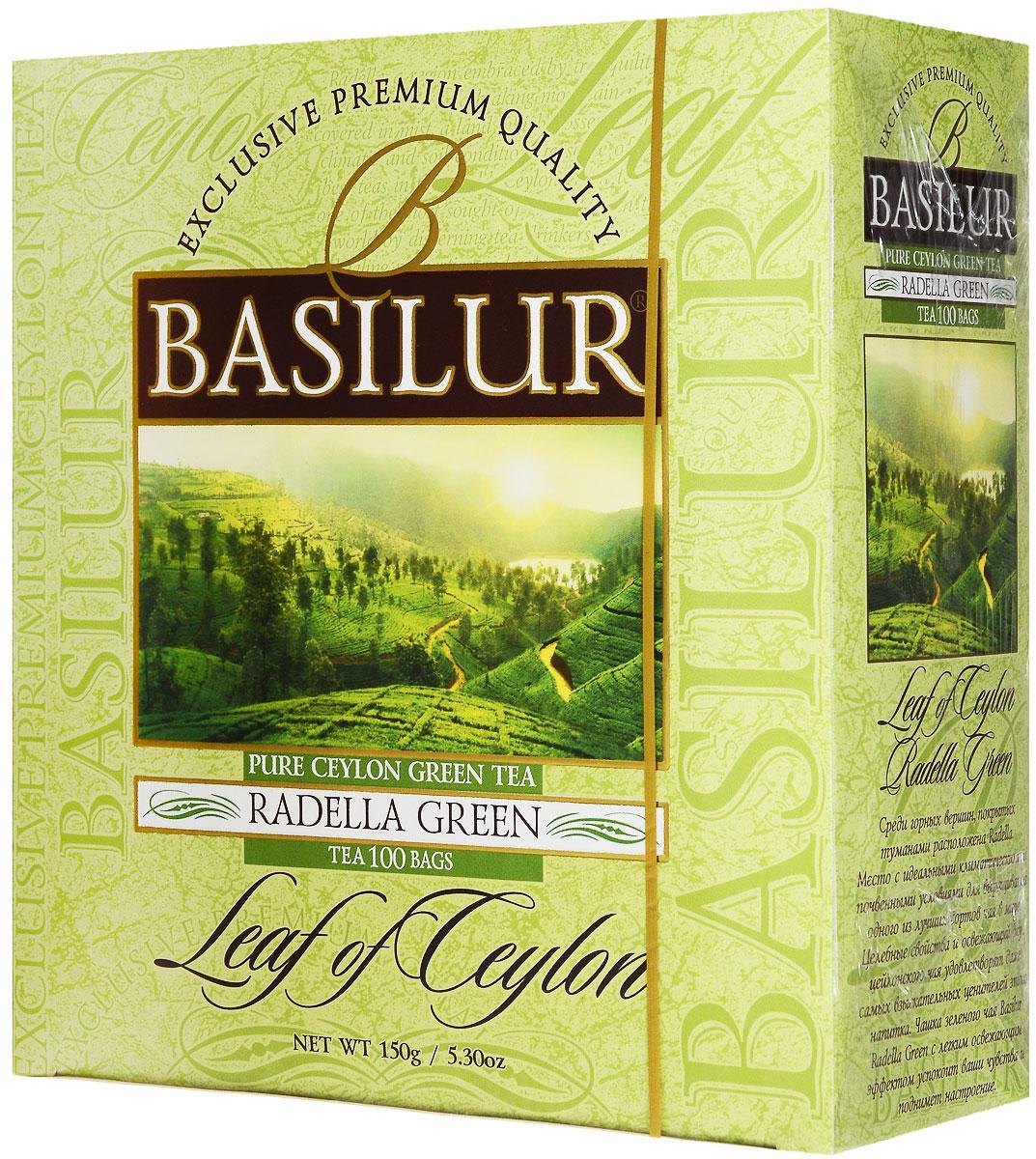 Basilur Radella зеленый чай в пакетиках, 100 шт70455-00Зелёный цейлонский байховый мелколистовой чай Basilur Radella в пакетиках с ярлычками для разовой заварки - отличный вариант на каждый день! Среди горных вершин, покрытых туманами расположена Radella. Место с идеальными климатическими и почвенными условиями для выращивания одного из лучших сортов чая в мире. Целебные свойства и освежающий вкус цейлонского чая удовлетворят даже самых взыскательных ценителей этого напитка. Чашка зеленого чая Basilur Radella Green с легким освежающим эффектом успокоит ваши чувства и поднимет настроение.