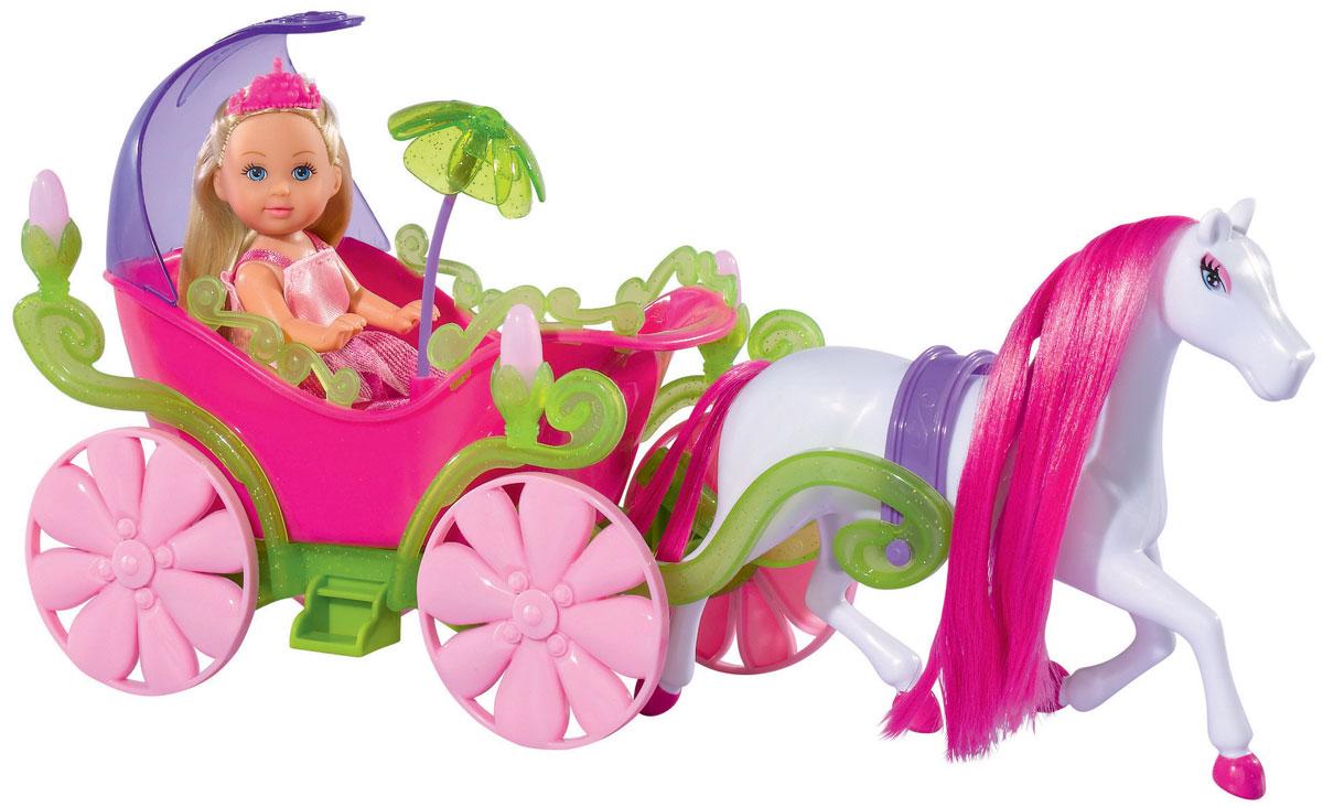 Simba Игровой набор с мини-куклой Evi Love Fairy Carriage5735754Игровой набор Еви в карете и лошадь не оставит равнодушной ни одну девочку. Очаровательная куколка Еви в образе принцессы. Она управляет шикарной розовой каретой, запряженной длинногривой лошадкой. У кареты по бокам светятся фонарики. Куколка с длинными светлыми волосами одета в розовое платье принцессы и диадему. На ножках - розовые туфельки. Одежда и обувь у куколки снимается, ручки, ножки и голова подвижны. Набор включает куклу, карету и лошадку. Вашей малышке обязательно понравится этот чудесный игровой набор. Порадуйте ее таким замечательным подарком.