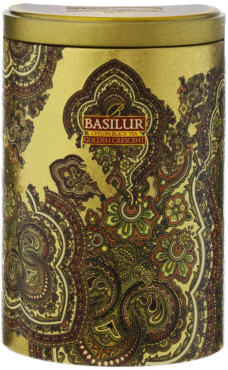 Basilur Golden Crescent черный листовой чай, 100 г (жестяная банка)70225-00Basilur Golden Crescent - черный байховый листовой чай. Этот классический натуральный цейлонский чай сорта Pekoe познакомит вас с настоящими древними традициями чайных плантаций Шри-Ланки.