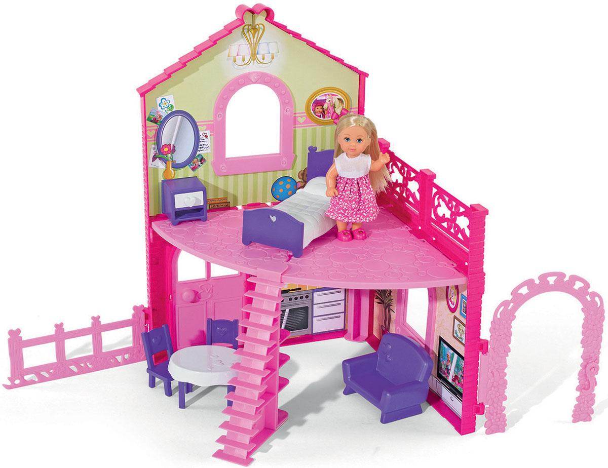 Simba Игровой набор с мини-куклами Evi Love Cute House5731508Игровой набор Еви в двухэтажном доме привлечет внимание вашей малышки и не позволит ей скучать. Дом для куколки двухэтажный и очень просторный. В таком двухэтажном домике малышке Еви будет очень хорошо жить, ей будет комфортно и уютно, ведь вместе с домиком в комплекте есть мебель, идеально подходящая для этой замечательной куклы. Еви может подняться на второй этаж по лесенке и там прилечь отдохнуть на кроватку. Иметь кукольный домик - мечта многих маленьких девочек. Им хочется побыть хозяйкой, обустроить комнатки, накрыть на стол, а потом позвать в гости игрушечных друзей. Такие игры помогают девочкам пережить роли, которые они будут выбирать в будущем, и очень полезны для детского психоэмоционального развития. Ваша малышка будет в восторге от такого подарка!