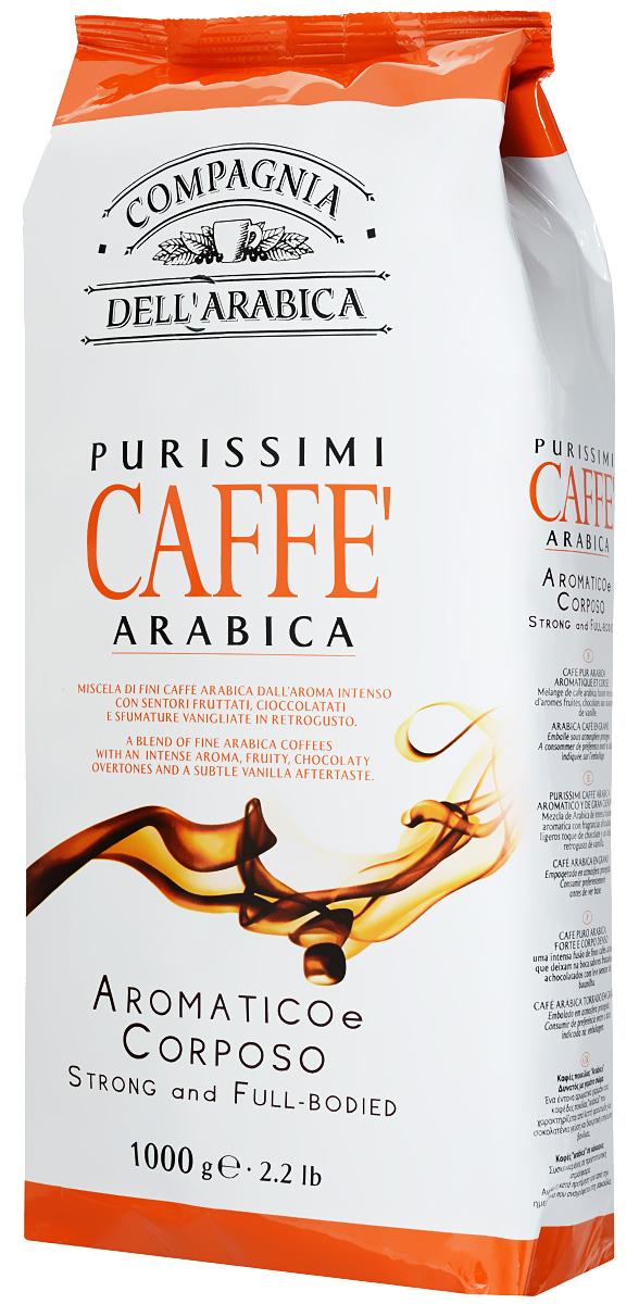 Compagnia DellArabica Purissimi Arabica кофе в зернах, 1000 г1977628759759Compagnia DellArabica Purissimi Arabica - очень ароматная композиция сортов 100% Арабики. Сорт создан из зерен Арабики на лучших мировых плантациях. Напиток имеет отменный мягкий вкус и великолепный насыщенный аромат. Идеально подходит для приготовления эспрессо и напитков на его основе, любыми традиционными способами!