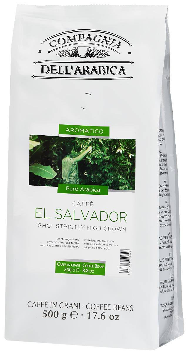 Compagnia DellArabica El Salvador кофе в зернах, 500 г8001684905157Кофе Compagnia DellArabica El Salvador произрастает на высоте более 900 метров над уровнем моря. Сорт впитал в себя все могущество высокогорного шедевра Латинской Америки. Он обладает сладким мягким вкусом, насыщенным ароматами чередованиями послевкусий. Идеально подходит для приготовления эспрессо и напитков на его основе, любыми традиционными способами!