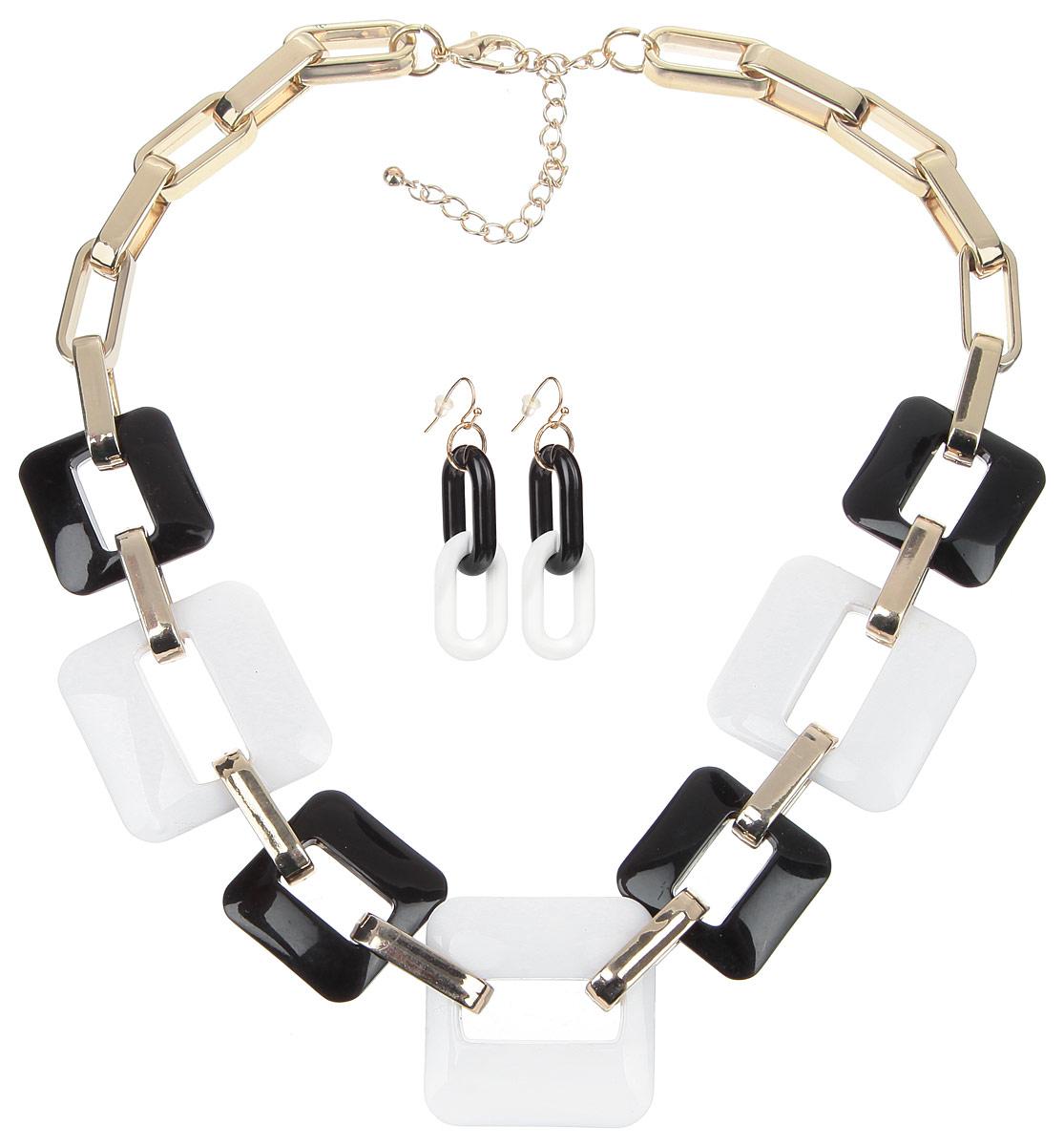 Комплект украшений Avgad: колье, серьги, цвет: черный, белый, золотой. FS0712GDBNW