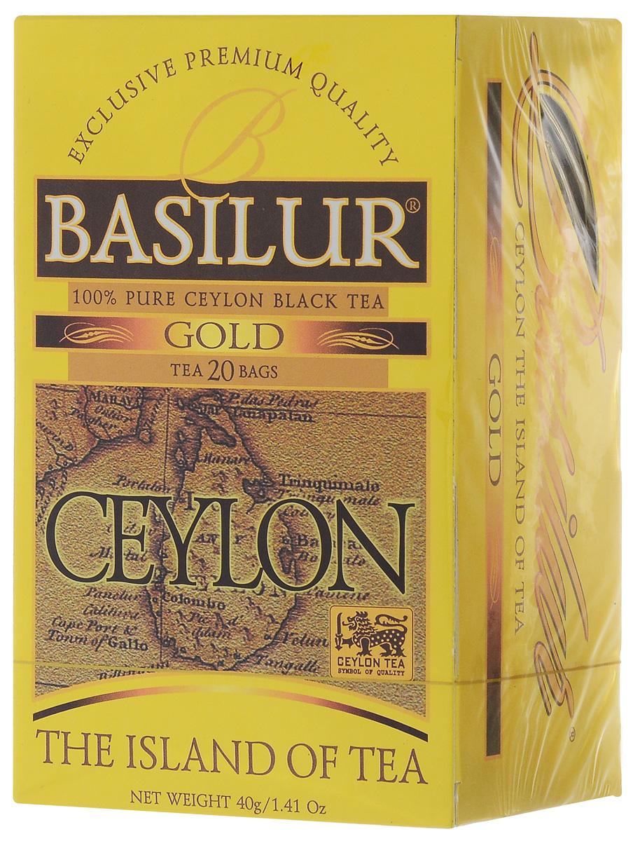 Basilur Gold черный чай в пакетиках, 20 шт70243-00Basilur Gold OP1 - черный байховый мелколистовой чай в пакетиках с ярлычками для разовой заварки. Orange Pekoe 1 - это высокий стандарт листового цейлонского чая, который сочетает в себе полноту вкуса с тонкими оттенками аромата. А благородный золотистый цвет его настоя делает напиток поистине драгоценным.