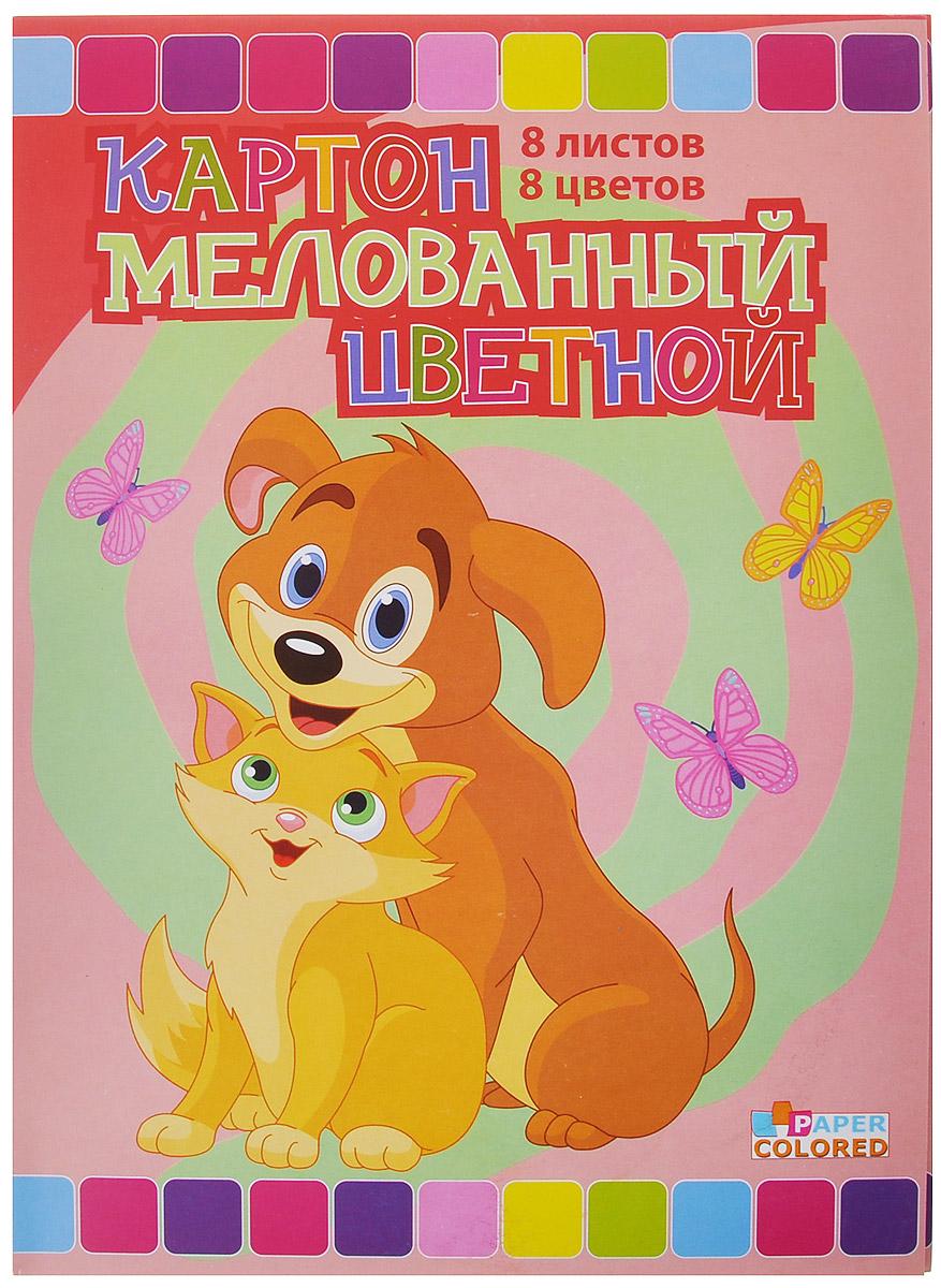 Бриз Набор цветного картона Кошка с собачкой, двусторонний, мелованный, 8 цветов1160-303Набор цветного мелованного картона Кошка с собачкой идеально подойдет для творческих занятий в детском саду, школе и дома. Набор состоит из двусторонних листов картона восьми цветов: черный, коричневый, фиолетовый, синий, зеленый, желтый, оранжевый, малиновый. Картон упакован в яркую папку, оформленную рисунком с изображением попугайчика. Большой выбор ярких, насыщенных цветов расширит возможности для создания аппликаций, объемных поделок и открыток.