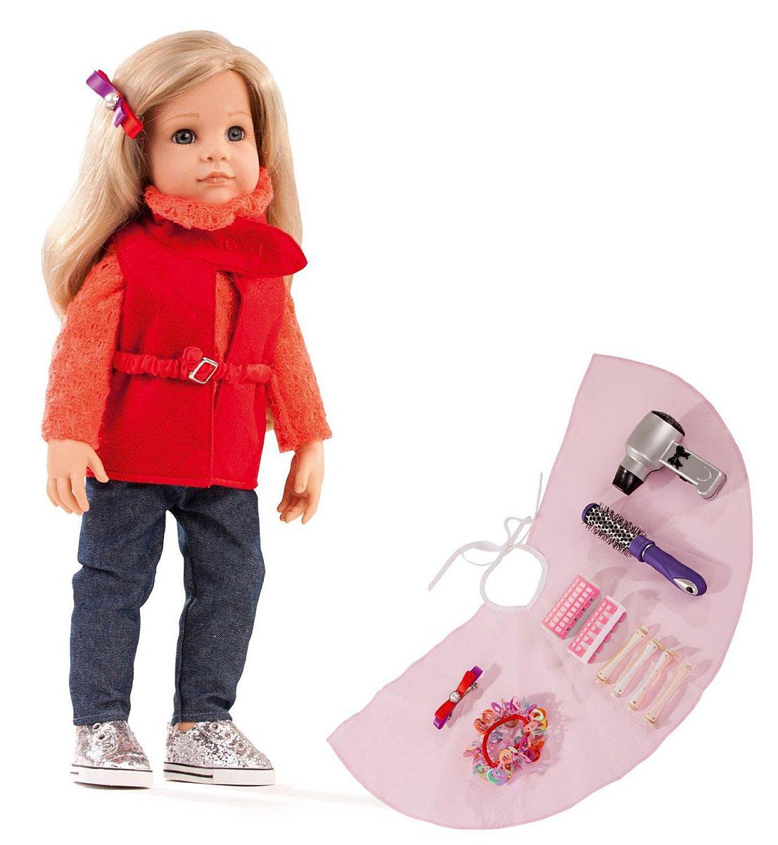 Gotz Игровой набор с куклой Ханна модница1459073Очаровательная кукла Ханна-модница станет замечательным подарком для девочки. С необычной куклой, которая так похожа на настоящую девочку, можно проводить много времени вместе, придумывая увлекательные сюжеты для игр. Кукла Gotz с виниловым подвижным телом подходит для активных игр дома и на улице. Куклу можно переодевать и делать различные прически. Кукла имеет длинные волосы пшеничного цвета, которые прочно вшиты для избежания выпадения во время активных игр детей. Ханна одета в стильный наряд, состоящий из джинсов и яркой двойной кофточки. На ножках у Ханны - стильные кеды серебристого цвета. В комплекте с куклой девочка найдет набор парикмахера, с помощью которого сможет создать кукле множество стильных причесок. Кукла, одежда и аксессуары Gotz выполнены из качественных материалов с учетом необходимых стандартов, соответствующих европейским нормативам. Куклу можно мыть, она приятна на ощупь, стимулирует сенсорное развитие ребенка, знакомит с новыми...