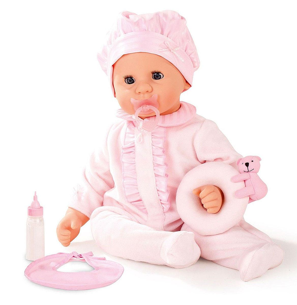 Gotz Пупс Малыш в розовом костюме1461143Пупс Малыш Cookie в розовом костюме и с маленькой игрушкой будет сопровождать ребенка на протяжении всего дня. С куклой можно играть и брать с собой в кроватку. Кукла Gotz приятна на ощупь и располагает к общению. Кукла в розовом колпаке и пижаме может принимать различные позы. Игрушку можно переодевать, укладывать спать и брать с собой на прогулку. Ребенок сможет придумать много интересных игр с приятной на ощупь игрушкой. У пупса мягкое тело, голова, руки и ножки из винила, его приятно обнимать, прижимать к себе. Малыш Cookie полностью повторяет вид маленького ребенка. Детально проработанные положения пальчиков, мимика детского личика с голубыми закрывающимися глазами с ресницами располагают к общению, ребенок с удовольствием ощупывает и изучает игрушку. Пупс и аксессуары для игры выполнены из качественных, безопасных для детей материалов, которые соответствуют европейским стандартам качества. Малыш имеет очаровательные черты лица: маленький рот и носик, широко...