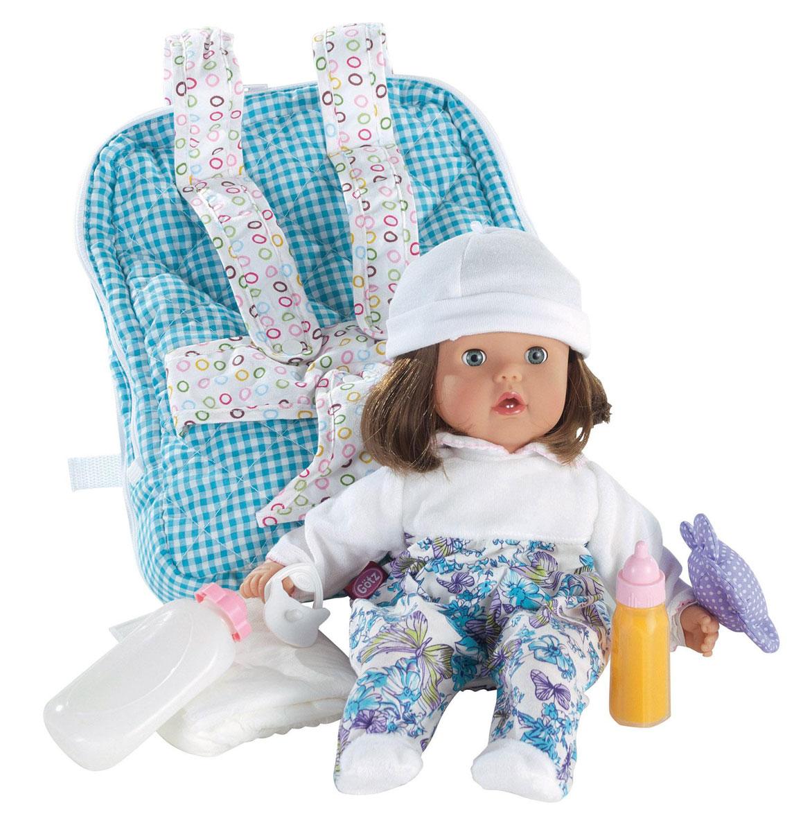 Gotz Игровой набор с пупсом Малышка Ханна1220186Кукла Малышка Ханна с аксессуарами будет сопровождать ребенка на протяжении всего дня. С куклой можно играть и брать с собой на прогулку. Кукла Gotz приятна на ощупь и располагает к общению. Кукла в очаровательном костюмчике может принимать различные позы. Игрушку можно переодевать, укладывать спать. Ребенок сможет придумать много интересных игр с приятной на ощупь игрушкой. У куклы Gotz мягкое тело, голова, руки и ножки из винила, ее приятно обнимать, прижимать к себе. Пупс полностью повторяет вид маленького ребенка. Детально проработанные положения пальчиков, мимика детского личика с голубыми закрывающимися глазами с ресницами располагают к общению, ребенок с удовольствием ощупывает и изучает игрушку. Кукла и аксессуары для игры выполнены из качественных, безопасных для игр материалов, которые соответствуют европейским стандартам качества. Кукла, одежда и аксессуары Gotz выполнены из качественных материалов с учетом необходимых стандартов,...
