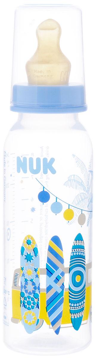 NUK Бутылочка для кормления, с латексной соской, цвет: сиреневый, 240 мл, от 0 до 6 месяцев