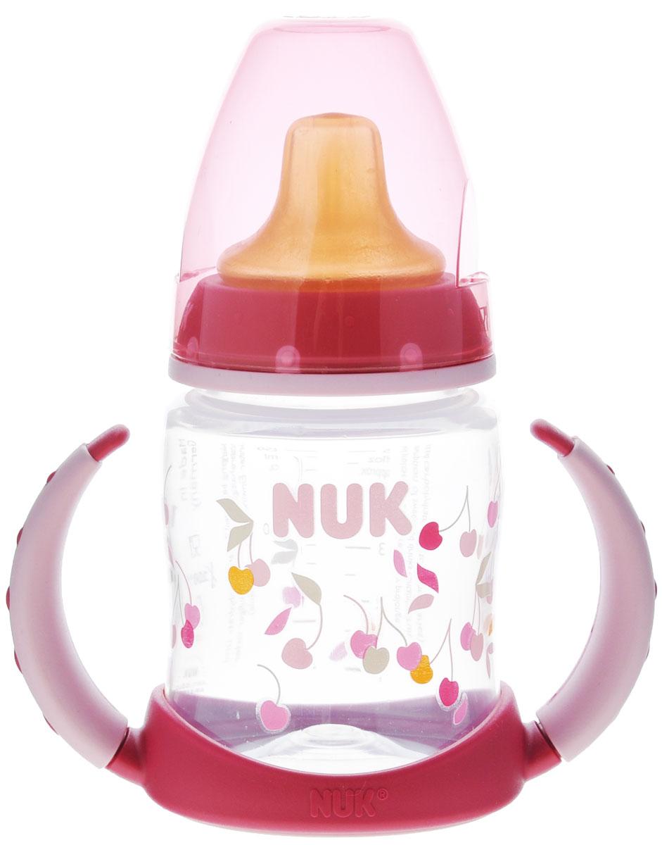 NUK Бутылочка-поильник First Choice, с латексной насадкой, цвет: розовый, 150 мл, от 6 месяцев10743391_розовыйПластиковая обучающая бутылочка NUK First Choice разработана специально для малышей с 6 месяцев. Малыш легко перейдет от груди к бутылочке, а от бутылочки к самостоятельному питью. Мягкий носик-насадка со специальным отверстием для питья изготовлен из латекса и исключает протекание, а за съемные пластиковые ручки бутылочку очень удобно держать. Закупоривающий диск бутылочки легко вставляется в завинчивающееся кольцо, что позволяет бутылочке оставаться герметичной даже во время сильной встряски.