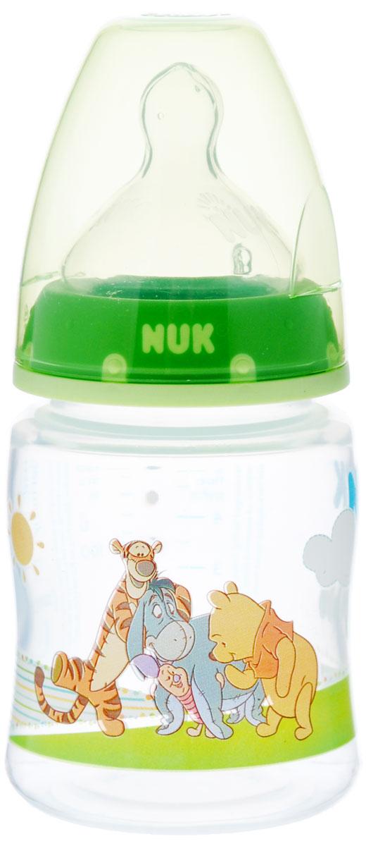 """NUK Бутылочка для кормления """"First Choice"""", с силиконовой соской, от 0 до 6 месяцев, цвет: зеленый, 150 мл"""