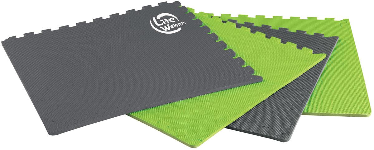 Покрытие защитное под тренажеры Lite Weights, цвет: серый, зеленый2400000005502_серо-зеленыйМягкая нескользящая поверхность покрытия Lite Weights надежно защищает напольное покрытие от потертостей и царапин. Собирается пазлом из четырех элементов. При использовании в качестве мата под тренажеры повышает устойчивость, устраняет возможный шум при тренировках. Возможно также применение в качестве мата для занятий фитнесом. Размер одного сегмента: 63 см х 63 см х 1,2 см. В комплект входят 4 сегмента.