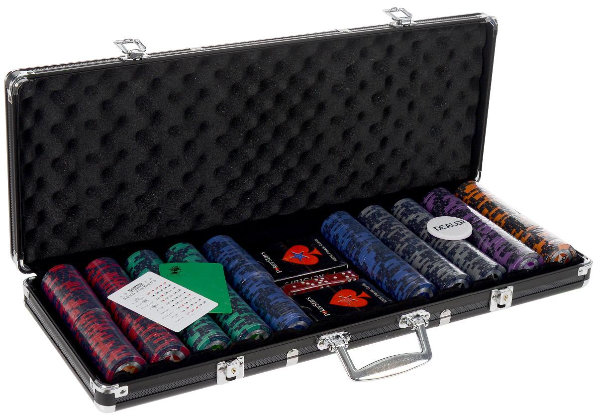 Набор для покера STARS 500. УТ-00000458УТ-00000458Набор для игры в покер - то, что нужно для отличного проведения досуга. Набор состоит из двух колод игральных карт, 500 игровых пластиковых фишек c номиналами, фишки Dealer, подрезной карты, кубиков и карточки с комбинациями. Набор фишек состоит из 100 фишек красного цвета номиналом 5, 100 фишек зеленого цвета номиналом 25, 100 фишек синего цвета номиналом 50, 100 фишек черного цвета номиналом 100, 50 фишек фиолетового цвета номиналом 500, 50 фишек оранжевого цвета номиналом 1000. Предметы набора хранятся в черном металлическом кейсе, который закрывается на ключик. Для удобства переноски на кейсе имеется ручка. Такой набор станет отличным подарком для любителей покера. Покер (англ. poker) - карточная игра, цель которой - выиграть ставки, собрав как можно более высокую покерную комбинацию, используя 5 карт, или вынудив всех соперников прекратить участвовать в игре. Игра идет с полностью или частично закрытыми картами. Покер как карточная игра существует...