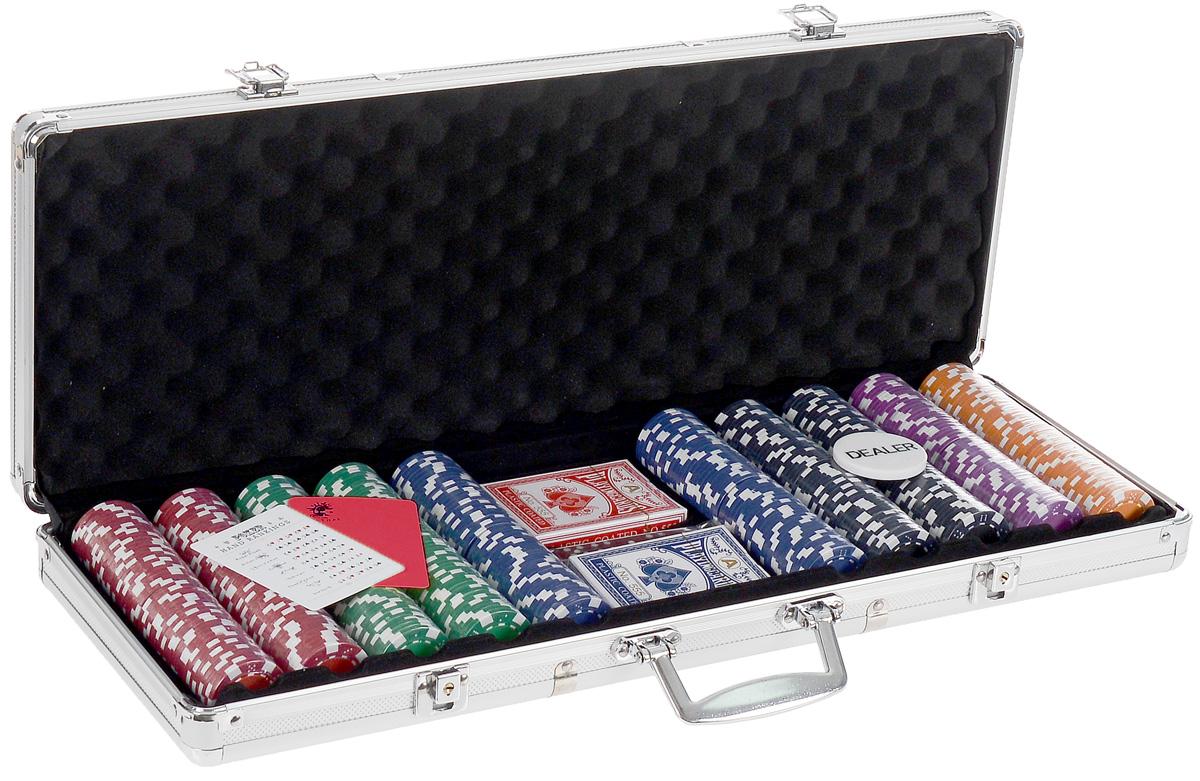 Набор для покера Russian Pro 500. УТ-00000456УТ-00000456Набор для игры в покер - то, что нужно для отличного проведения досуга. Набор состоит из двух колод игральных карт, 500 игровых пластиковых фишек c номиналами, фишки Dealer, подрезной карты, кубиков и карточки с комбинациями. Набор фишек состоит из 100 фишек красного цвета номиналом 5, 100 фишек зеленого цвета номиналом 25, 100 фишек синего цвета номиналом 50, 100 фишек черного цвета номиналом 100, 50 фишек фиолетового цвета номиналом 500, 50 фишек оранжевого цвета номиналом 1000. Предметы набора хранятся в металлическом кейсе, который закрывается на ключик. Для удобства переноски на кейсе имеется ручка. Такой набор станет отличным подарком для любителей покера. Покер (англ. poker) - карточная игра, цель которой - выиграть ставки, собрав как можно более высокую покерную комбинацию, используя 5 карт, или вынудив всех соперников прекратить участвовать в игре. Игра идет с полностью или частично закрытыми картами. Покер как карточная игра существует более...