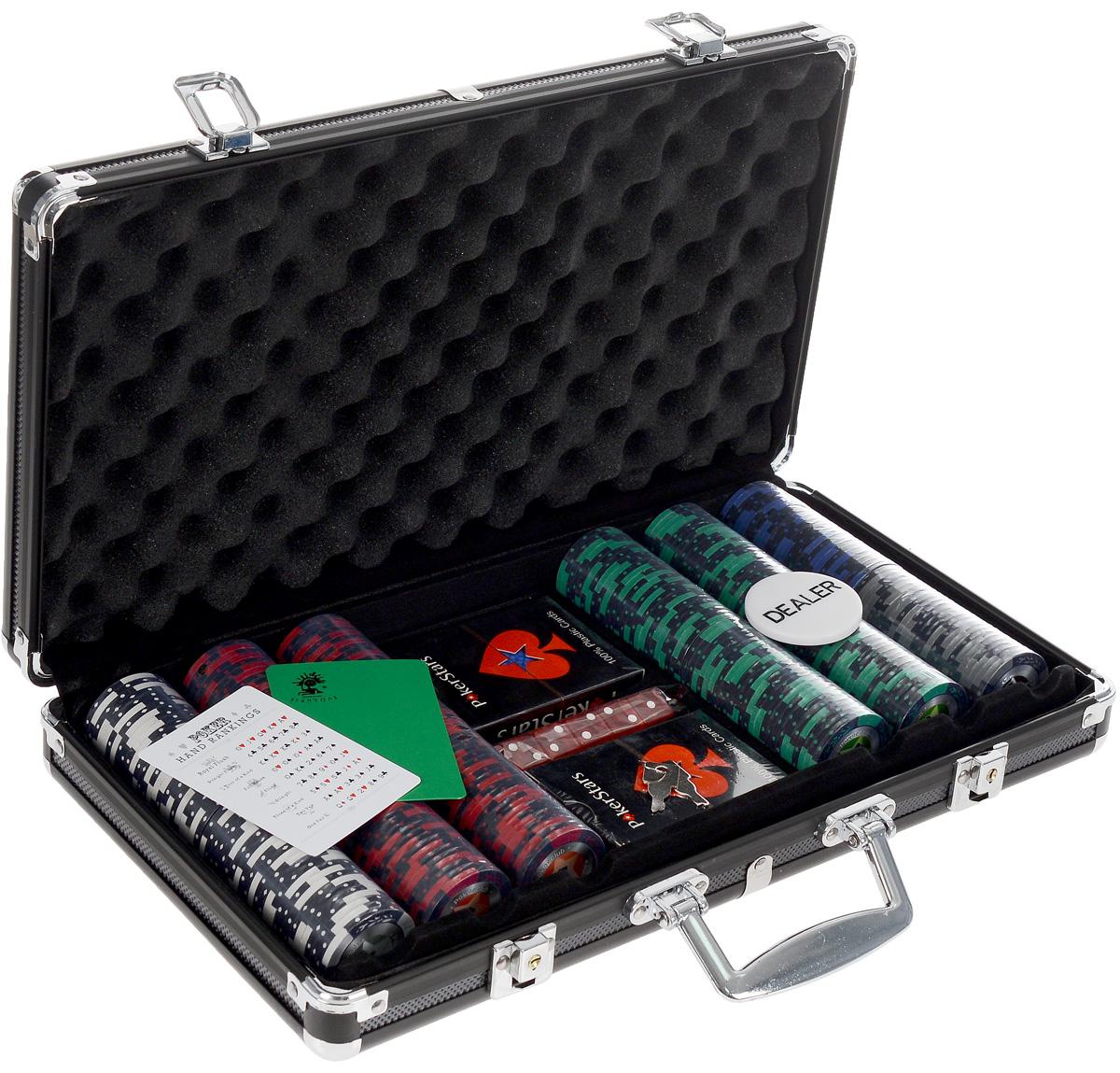 Набор для покера STARS 300. УТ-00000457УТ-00000457Набор для игры в покер - то, что нужно для отличного проведения досуга. Набор состоит из двух колод игральных карт, 300 игровых пластиковых фишек c номиналами, фишки Dealer, подрезной карты, кубиков и карточки с комбинациями. Набор фишек состоит из 50 фишек белого цвета номиналом 1, 100 фишек красного цвета номиналом 5, 100 фишек зеленого цвета номиналом 25, 25 фишек синего цвета номиналом 50, 25 фишек черно цвета номиналом 100. Предметы набора хранятся в черном металлическом кейсе, который закрывается на ключик. Для удобства переноски на кейсе имеется ручка. Такой набор станет отличным подарком для любителей покера. Покер (англ. poker) - карточная игра, цель которой - выиграть ставки, собрав как можно более высокую покерную комбинацию, используя 5 карт, или вынудив всех соперников прекратить участвовать в игре. Игра идет с полностью или частично закрытыми картами. Покер как карточная игра существует более 500 лет. Зародился он в Европе: в Испании,...