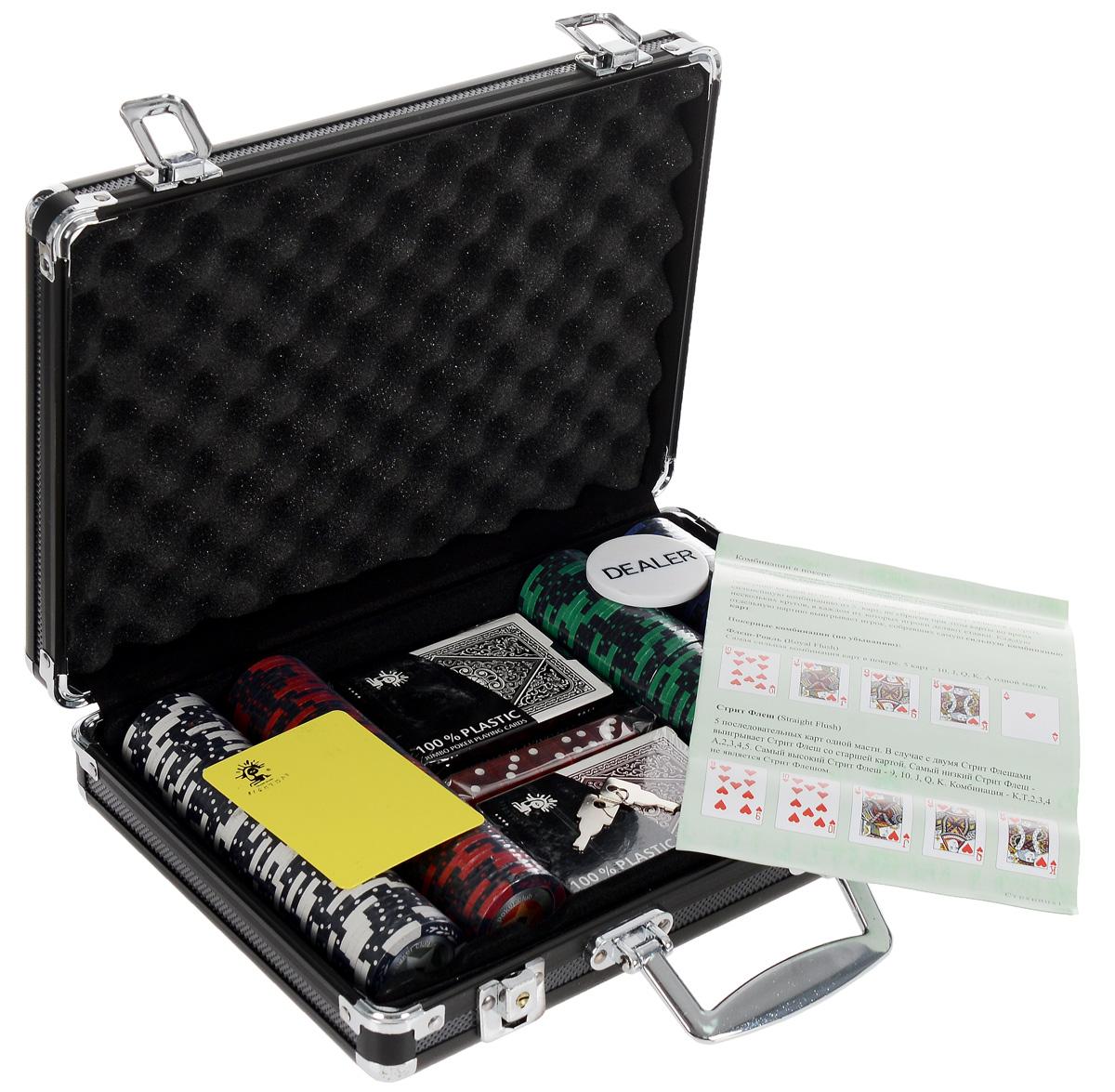 Набор для покера STARS 200. УТ-00000442УТ-00000442Набор для игры в покер - то, что нужно для отличного проведения досуга. Набор состоит из двух колод игральных карт, 200 игровых пластиковых фишек c номиналами, фишки Dealer, подрезной карты, кубиков и инструкции. Набор фишек состоит из 50 фишек белого цвета номиналом 1, 50 фишек красного цвета номиналом 5, 50 фишек зеленого цвета номиналом 25, 25 фишек синего цвета номиналом 50 и 25 фишек черного цвета номиналом 100. Предметы набора хранятся в черном металлическом кейсе, который закрывается на ключик. Для удобства переноски на кейсе имеется ручка. Такой набор станет отличным подарком для любителей покера. Покер (англ. poker) - карточная игра, цель которой - выиграть ставки, собрав как можно более высокую покерную комбинацию, используя 5 карт, или вынудив всех соперников прекратить участвовать в игре. Игра идет с полностью или частично закрытыми картами. Покер как карточная игра существует более 500 лет. Зародился он в Европе: в Испании, Франции, Италии....