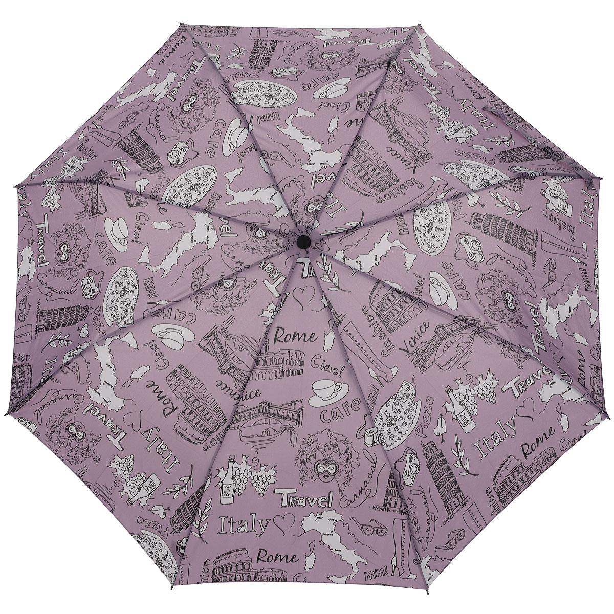 Зонт женский Airton, полный автомат, 3 сложения, цвет: сиреневый. 39155-0639155-06Автоматический зонт Airton в 3 сложения даже в ненастную погоду позволит вам оставаться стильной и элегантной. Детали каркаса изготовлены из высокопрочных материалов, специальная система Windproof защищает его от поломок. Ручка из прорезиненного пластика разработана с учетом требований эргономики. Используемые высококачественные красители, а также покрытие Teflon обеспечивают длительное сохранение свойств ткани купола зонта. Купол выполнен из полиэстера сиреневого цвета и оформлен оригинальным принтом. Зонт имеет полный автоматический механизм сложения: купол открывается и закрывается нажатием кнопки на рукоятке, стержень складывается вручную до характерного щелчка. На рукоятке для удобства есть небольшой шнурок, позволяющий надеть зонт на руку тогда, когда это будет необходимо. К зонту прилагается чехол.
