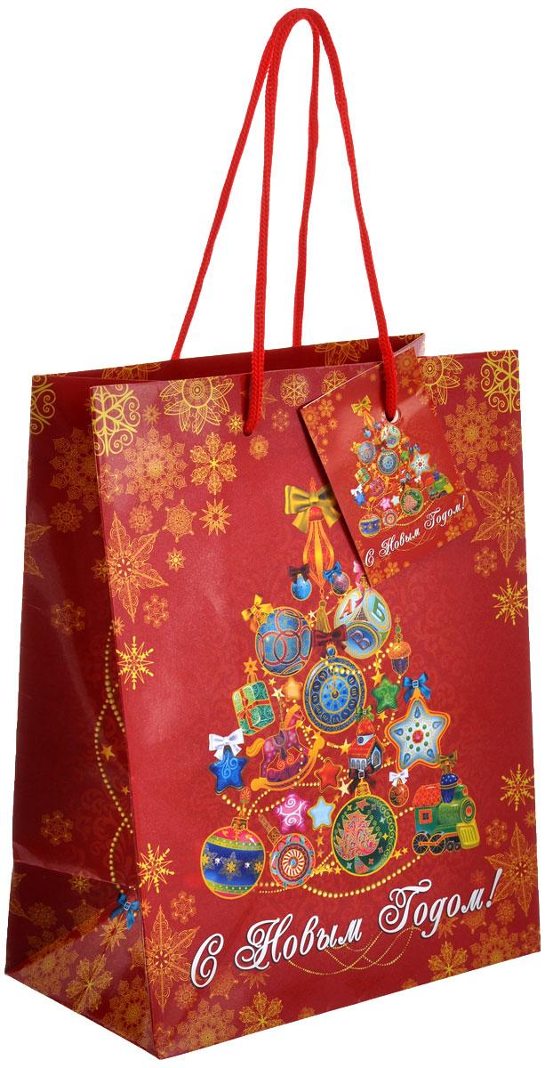 """Пакет подарочный Феникс-презент """"Русская елка"""", 17,8 х 22,9 см 35121"""