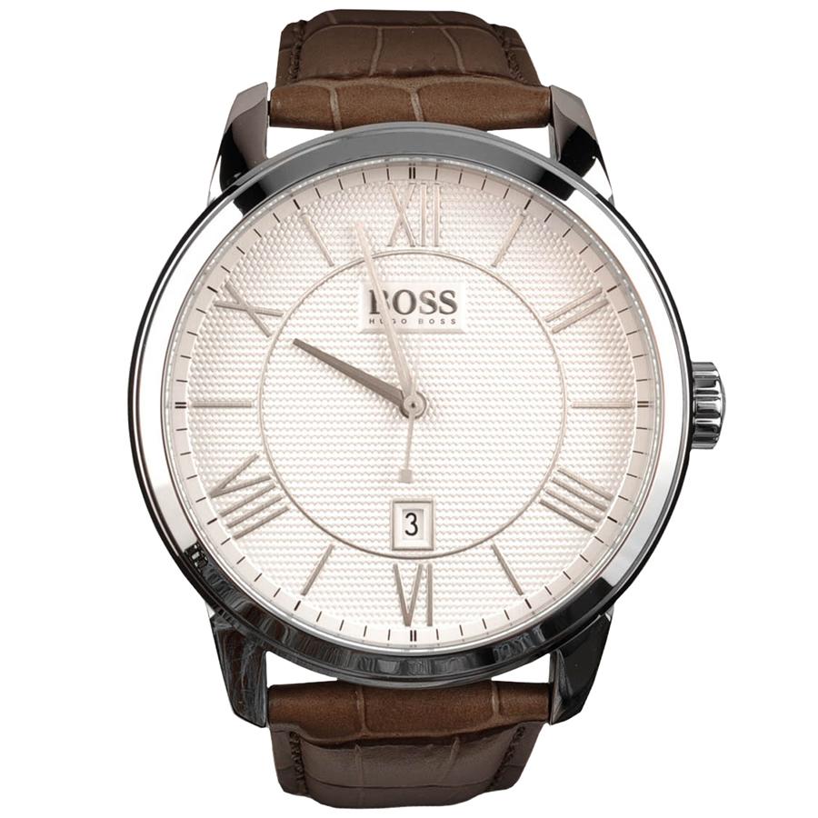 Часы наручные мужские Hugo Boss, цвет: стальной, коричневый. HB-153-26HB-153-26Стильные мужские часы Hugo Boss WATCHES выполнены из нержавеющей стали, минерального стекла и натуральной кожи. Циферблат изделия оформлен символикой бренда. Часы оснащены полированным ударостойким корпусом, устойчивым к царапинам минеральным стеклом, индикатором даты, а также степенью влагозащиты 3 atm. Изделие дополнено ремнем из натуральной кожи с тиснением под рептилию и пряжкой, которая позволит максимально комфортно и быстро снимать и одевать часы. Изделие поставляется в фирменной упаковке. Часы Hugo Boss WATCHES подчеркнут мужской характер и отменное чувство стиля у их обладателя.