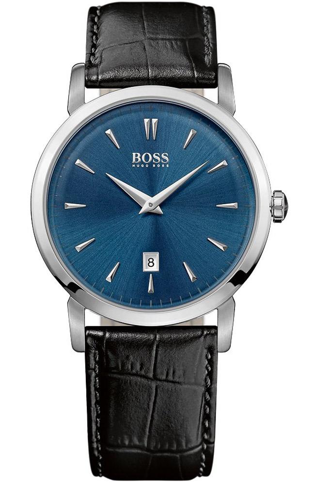 Часы наручные мужские Hugo Boss, цвет: стальной, синий. HB-153-21HB-153-21Стильные мужские часы Hugo Boss WATCHES выполнены из нержавеющей стали, минерального стекла и натуральной кожи. Циферблат изделия оформлен символикой бренда. Часы оснащены полированным ударостойким корпусом, устойчивым к царапинам минеральным стеклом, индикатором даты, а также степенью влагозащиты 3 atm. Изделие дополнено ремнем из натуральной кожи с тиснением под рептилию и пряжкой, которая позволит максимально комфортно и быстро снимать и одевать часы. Изделие поставляется в фирменной упаковке. Часы Hugo Boss WATCHES подчеркнут мужской характер и отменное чувство стиля у их обладателя.