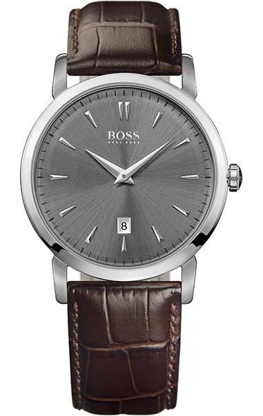 Часы наручные мужские Hugo Boss, цвет: стальной, коричневый. HB-151-05HB-151-05Стильные мужские часы Hugo Boss WATCHES выполнены из нержавеющей стали, минерального стекла и натуральной кожи. Циферблат изделия оформлен символикой бренда. Часы оснащены полированным ударостойким корпусом, устойчивым к царапинам минеральным стеклом, индикатором даты, а также степенью влагозащиты 3 atm. Изделие дополнено ремнем из натуральной кожи с тиснением под рептилию и пряжкой, которая позволит максимально комфортно и быстро снимать и одевать часы. Изделие поставляется в фирменной упаковке. Часы Hugo Boss WATCHES подчеркнут мужской характер и отменное чувство стиля у их обладателя.