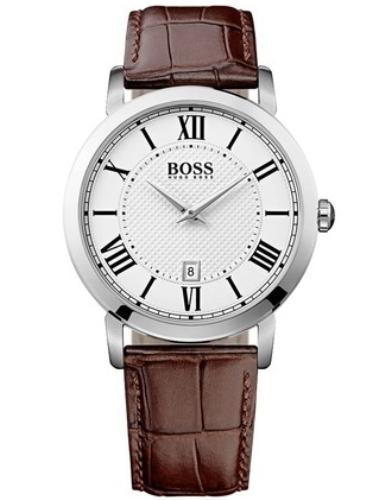 Часы наручные мужские Hugo Boss, цвет: стальной, коричневый. HB-153-08HB-153-08Стильные мужские часы Hugo Boss WATCHES выполнены из нержавеющей стали, минерального стекла и натуральной кожи. Циферблат изделия оформлен символикой бренда. Часы оснащены полированным ударостойким корпусом, устойчивым к царапинам минеральным стеклом, индикатором даты, а также степенью влагозащиты 3 atm. Изделие дополнено ремнем из натуральной кожи с тиснением под рептилию и пряжкой, которая позволит максимально комфортно и быстро снимать и одевать часы. Изделие поставляется в фирменной упаковке. Часы Hugo Boss WATCHES подчеркнут мужской характер и отменное чувство стиля у их обладателя.