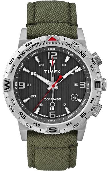 Часы наручные мужские Timex, цвет: зеленый, серый, стальной. T2P286T2P286механизм кварцевый, корпус: сталь, 42 мм, стекло минеральное, ремешок: нейлон, дата, компас, водозащита: 10 АТМ, подсветка INDIGLO