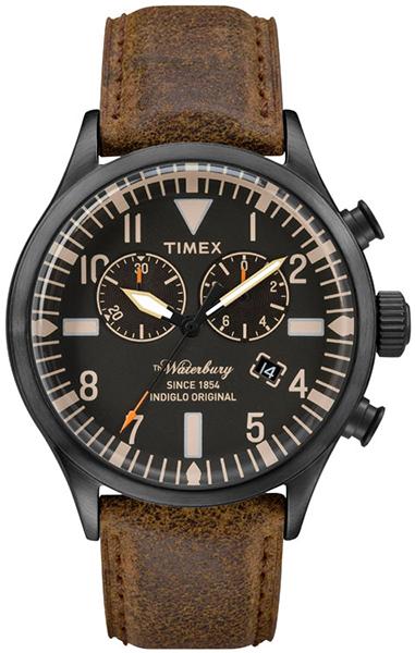 Часы наручные мужские Timex, цвет: черный, коричневый. TW2P64800TW2P64800Водозащита 5 АТМ; Механизм кварцевый; Корпус стальной; Браслет кожаный; Стекло минеральное; Размер корпуса 42 мм; подсветка INDIGLO