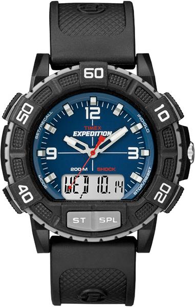 Часы наручные мужские Timex, цвет: черный, серый, синий. T49968T49968Водозащита 20 АТМ; Механизм кварцевый; Корпус пластиковый; Браслет каучуковый; Стекло акриловое; Размер корпуса 50 мм; ударопрочность, подсветка INDIGLO