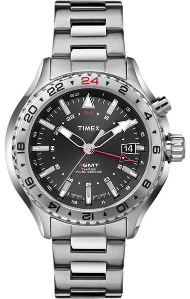 Часы наручные мужские Timex, цвет: стальной, серый. T2P424T2P424Механизм кварцевый, корпус: сталь, 47 мм, стекло минеральное, браслет: сталь, хронограф с функцией обратного хода, второй часовой пояс, дата, водозащита: 10 АТМ, подсветка INDIGLO