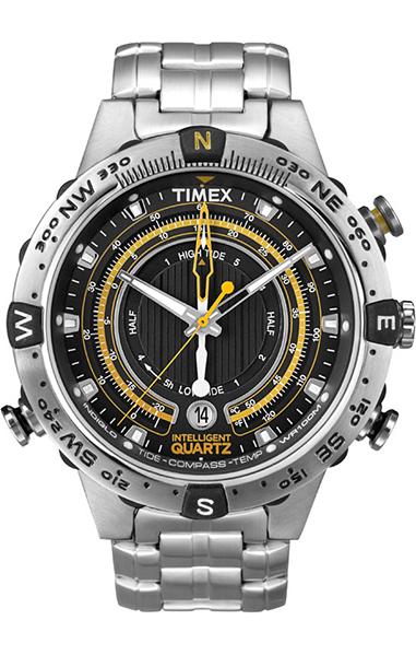Часы наручные мужские Timex, цвет: стальной, черный. T2N738T2N738Наручные мужские часы Timex произведены опытными специалистами из материалов самого высокого качества на базе новейших технологий. Часы оснащены кварцевым механизмом. Корпус часов выполнен из нержавеющей стали. Браслет выполнен из каучука и застегивается на застежку-пряжку. Циферблат оформлен отметками, имеет три стрелки - часовую, минутную и секундную и защищен минеральным стеклом, устойчивое к возникновению царапин. Кроме того, часы оснащены дополнительными функциями: индикатор даты, подсветка INDIGLO, индикатор приливов/отливов, термометром и компасом. Водозащита 10 АТМ. Наручные часы Timex хранятся в фирменной коробочке.