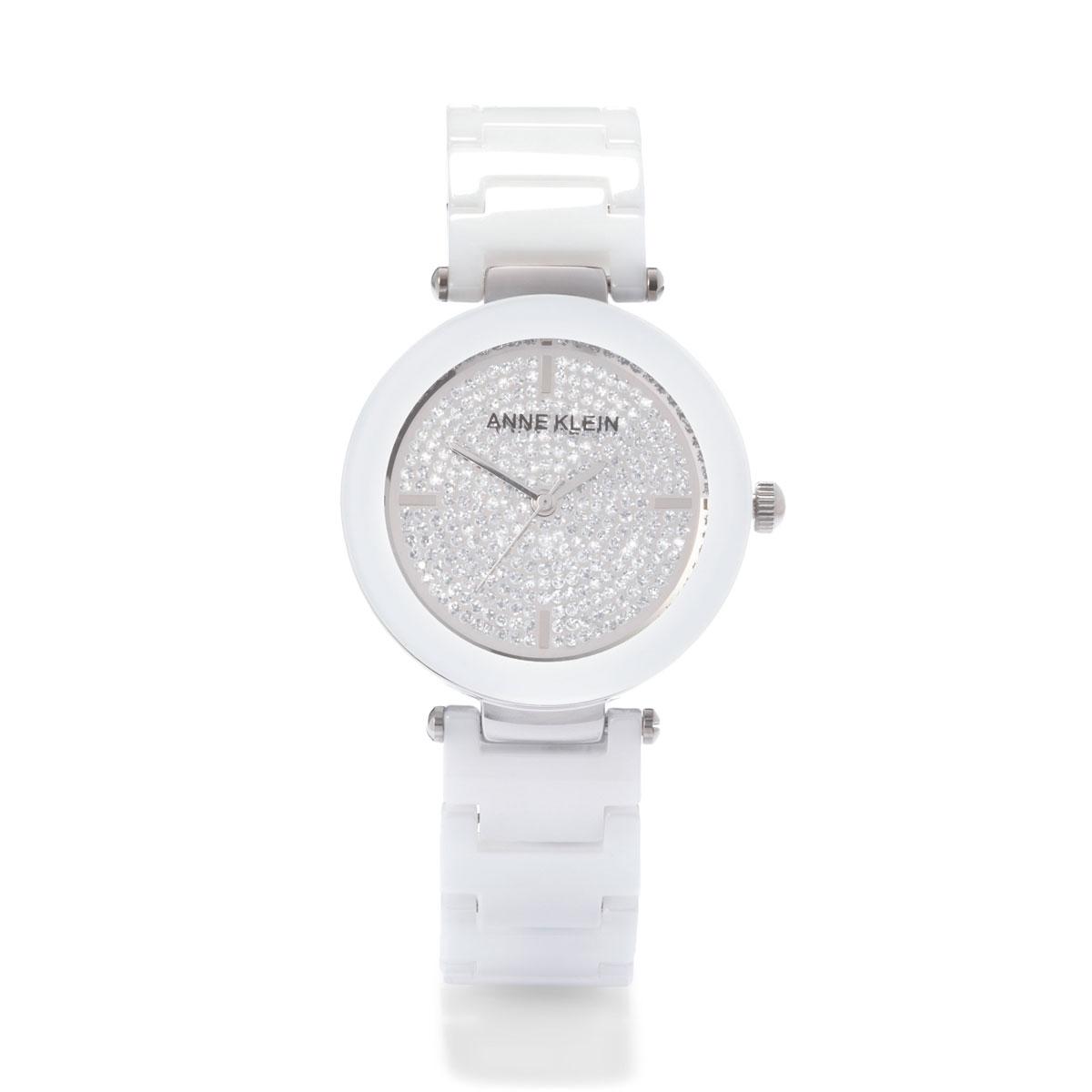 Часы наручные женские Anne Klein Ceramics, цвет: белый, стальной. 1019PVWT1019PVWTЭлегантные женские часы Anne Klein Ceramics изготовлены из нержавеющей стали, керамики и минерального стекла. Циферблат часов оформлен символикой бренда и блестками. Корпус изделия оснащен кварцевым механизмом, который имеет степень влагозащиты равную 3 Bar, дополнен устойчивым к царапинам минеральным стеклом. Браслет оснащен складным замком с дополнительным звеном, который позволит с легкостью снимать и надевать изделие. Часы поставляются в фирменной упаковке. Часы Anne Klein Ceramics подчеркнут изящность женской руки и отменное чувство стиля у их обладательницы.