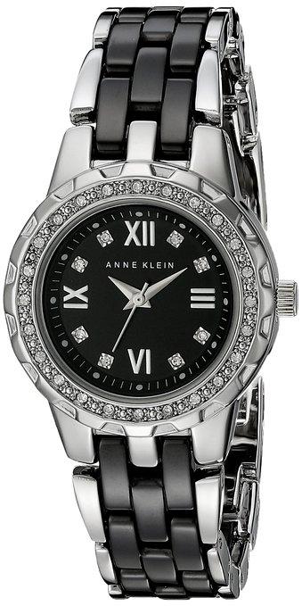 Часы наручные женские Anne Klein 9457BKSV, цвет: черный, стальной9457BKSVМеханизм: кварцевый, корпус: металл, диаметр: 38 мм, кристаллы, циферблат: черный, стекло: минеральное, водозащита: 3 АТM, браслет: металл, керамика