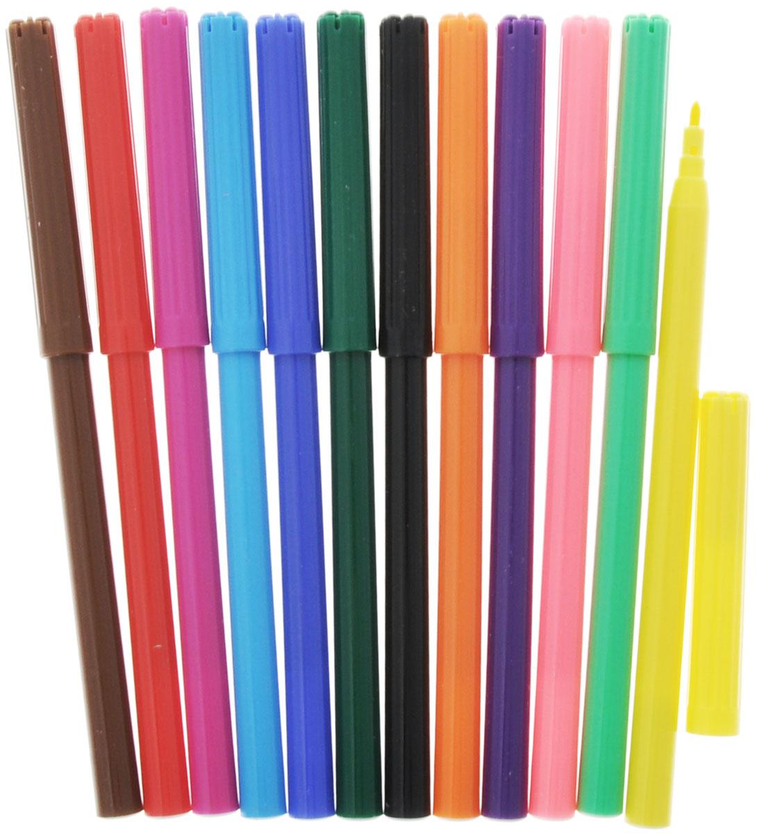 Гадкий Я Фломастеры Universal Studios. Миньоны, 12 цветов26476Фломастеры Universal Studios. Миньоны помогут маленьким художникам рисовать и раскрашивать самые разные картинки, развивая воображение, мелкую моторику и цветовосприятие. В наборе 12 разноцветных фломастеров с вентилируемыми колпачками, безопасными для детей. Фломастеры изготовлены из материала, который обеспечивает прочность корпуса и препятствует испарению чернил, благодаря чему они имеют долгий срок службы.