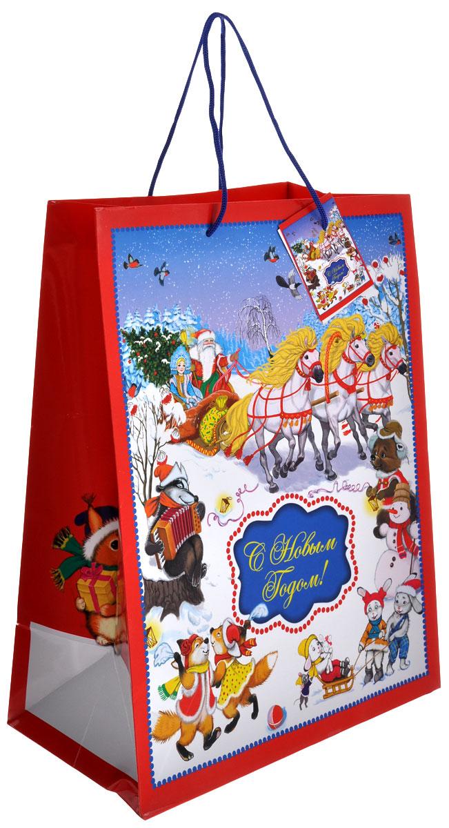 Пакет подарочный Феникс-презент Новогодний праздник, 26 см х 32,4 см38543Подарочный пакет Феникс-презент Новогодний праздник, изготовленный из плотной бумаги, станет незаменимым дополнением к выбранному подарку. Дно изделия укреплено картоном, который позволяет сохранить форму пакета и исключает возможность деформации дна под тяжестью подарка. Пакет выполнен с глянцевой ламинацией, что придает ему прочность, а изображению - яркость и насыщенность цветов. Для удобной переноски на пакете имеются две ручки из шнурков. Подарок, преподнесенный в оригинальной упаковке, всегда будет самым эффектным и запоминающимся. Окружите близких людей вниманием и заботой, вручив презент в нарядном, праздничном оформлении. Размер: 26 см х 32,4 см х 12,7 см.