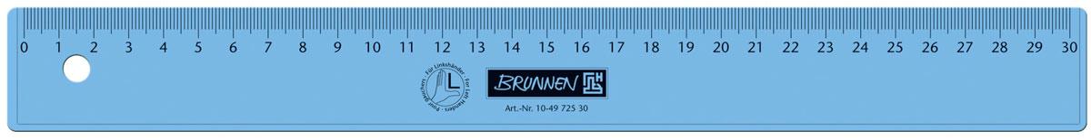 Brunnen Линейка для левши, цвет: синий, 30 см 49725-30\BCD_синий