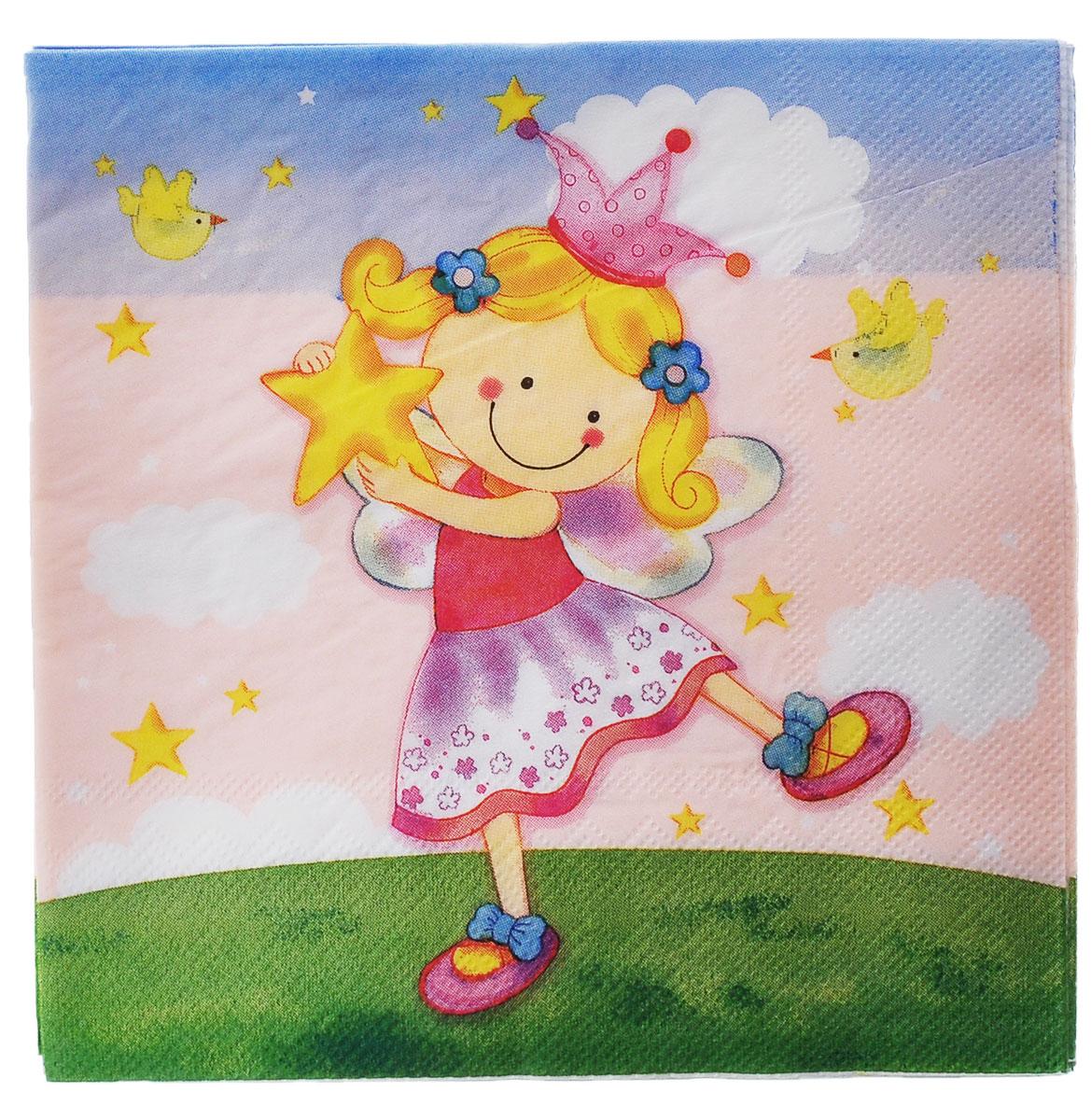 Веселая затея Салфетки Звездная фея, трехслойные, 12 шт1502-1283Трехслойные бумажные салфетки Звездная фея с красочным рисунком, станут отличным дополнением детского праздничного стола. Салфетки, на которых фея порхает над землей, ей поют птички, улыбаются цветы, и звезды падают в ее ладошки В упаковке 12 ярких трехслойных салфеток.