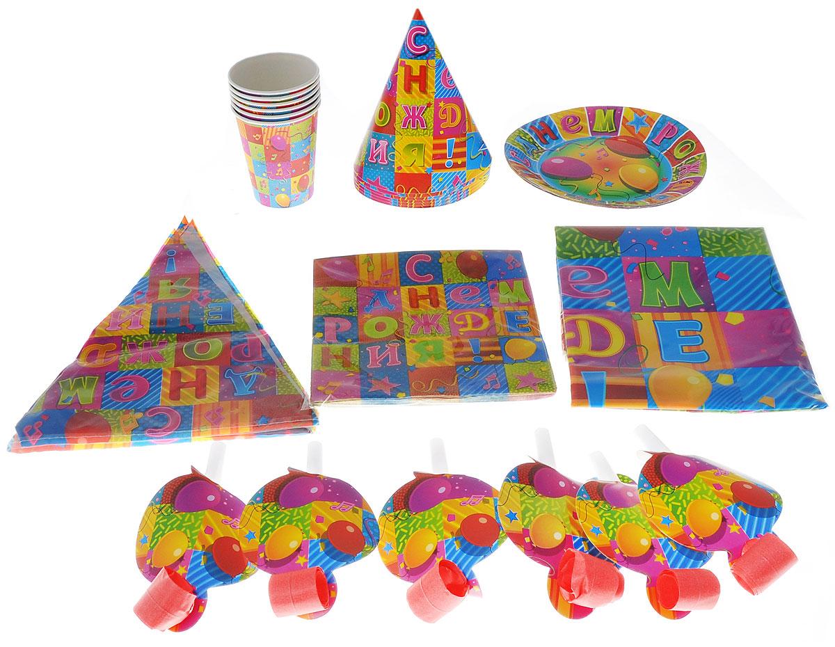 Веселая затея Набор карнавальных аксессуаров С Днем Рождения. Мозаика, 38 предметов1506-0143Набор карнавальных аксессуаров и предметов для сервировки стола на 6 персон - идеальное решение для вечеринки дома, в офисе или на природе. С ним легко и быстро создать атмосферу праздника в любом месте. Набор рассчитан на 6 персон. Все неотъемлемые атрибуты праздника в наборе: скатерть, гирлянда, бумажные стаканы, ламинированные тарелки, салфетки, колпачки, языки-гудки. Внесите нотку задора и веселья в ваш праздник. Веселое настроение и масса положительных эмоций вам будут обеспечены!