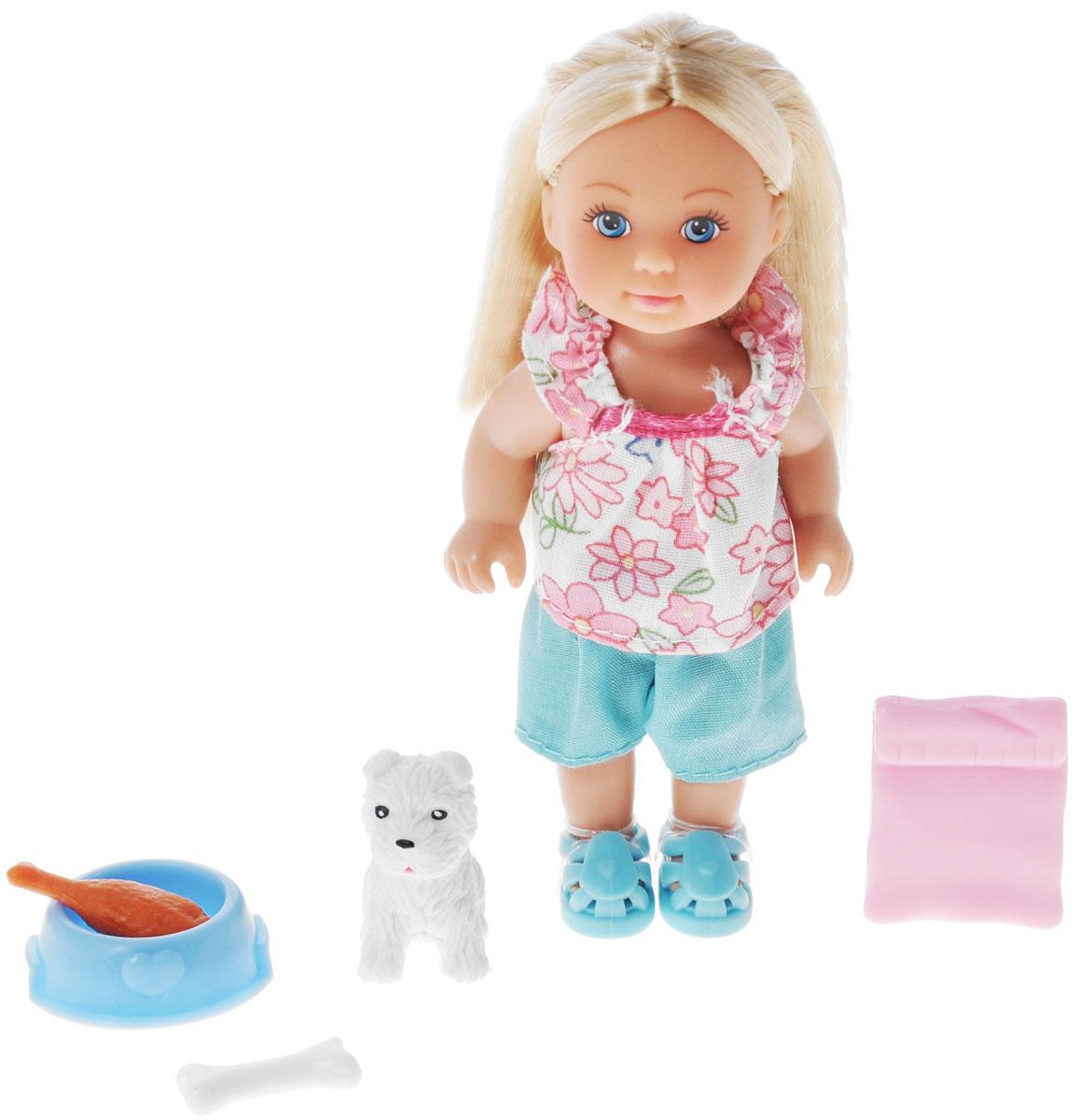 Simba Игровой набор с мини-куклой Еви с собачкой5734830_белая собачкаИгровой набор Еви с собачкой не оставит равнодушной ни одну девочку. Крошка Еви играет со своей любимой белой собачкой. Куколка с длинными светлыми волосами одета в кофточку и бирюзовые шортики, на ножках - ботиночки в тон к шортиками. Одежда и обувь у куколки снимаются. Набор включает куклу, собачку и аксессуары для игры. Благодаря маленьким размерам элементов набора ваша малышка сможет брать его с собой на прогулку или в гости. Порадуйте ее таким замечательным подарком!